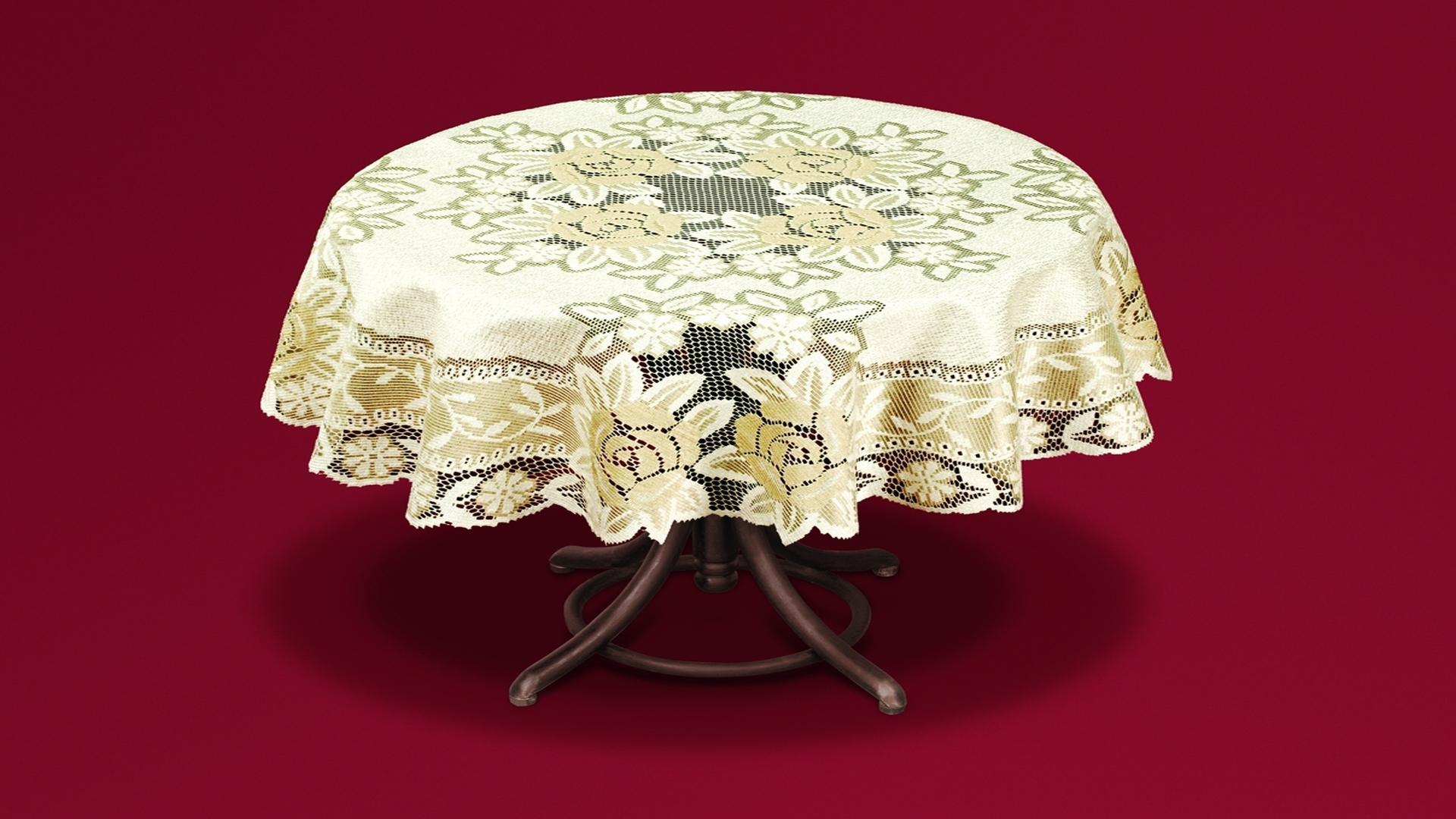 Скатерть Haft Skarb Babuni, круглая, цвет: кремовый, золотистый, диаметр 120 см. 54113/12016076Великолепная круглая скатерть Haft Skarb Babuni, выполненная из полиэстера, органично впишется в интерьер любого помещения, а оригинальный дизайн удовлетворит даже самый изысканный вкус. Скатерть выполнена из сетчатого материала с ажурным цветочным орнаментом по краям и по центру. Скатерть Haft Skarb Babuni создаст праздничное настроение и станет прекрасным дополнением интерьера гостиной, кухни или столовой. Диаметр скатерти: 120 см.