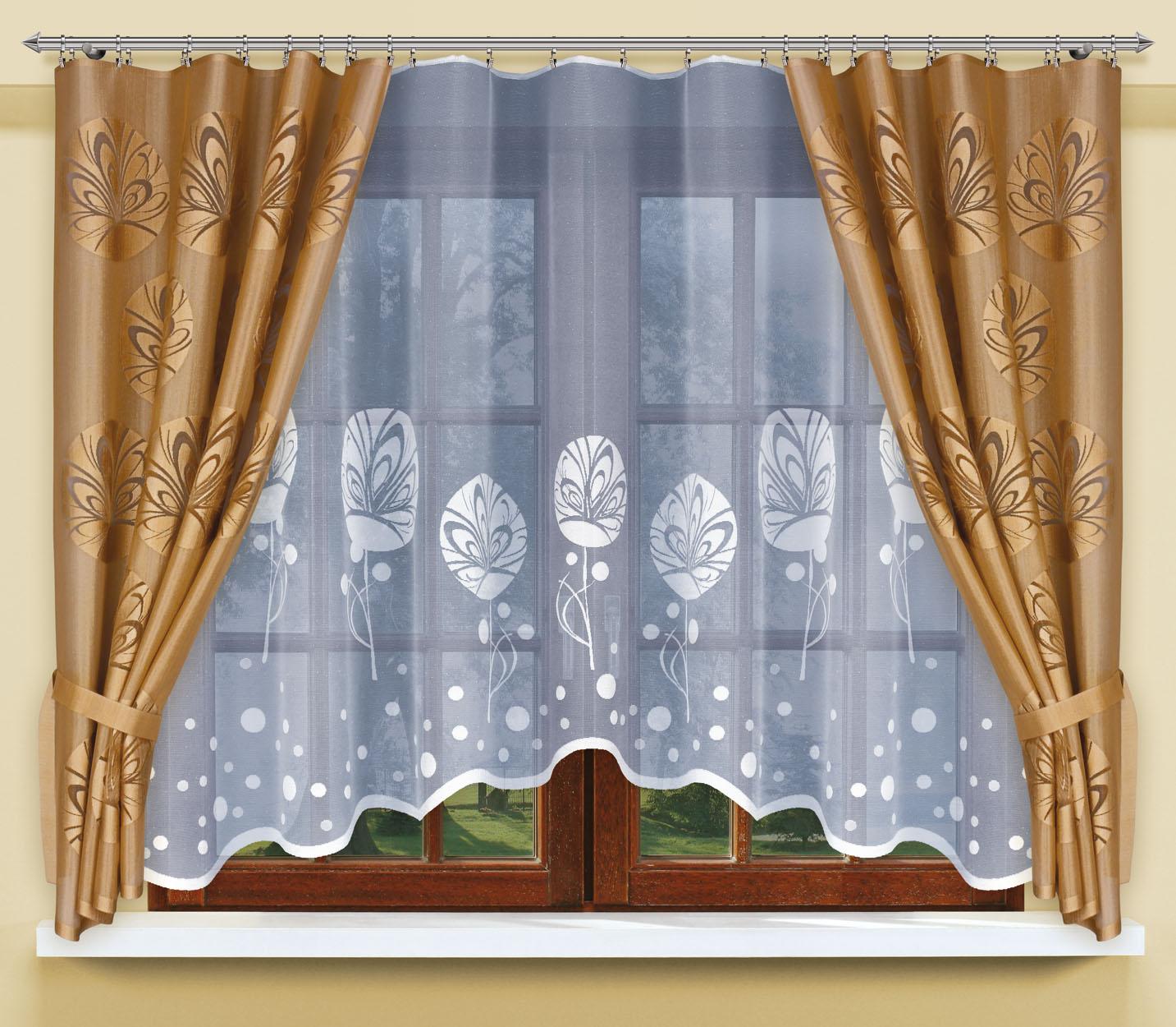 Комплект штор для кухни Haft, на ленте, цвет: бронзовый, белый, 3 предмета. 200471200471/160Комплект штор для кухни Haft великолепно украсит любое окно. Комплект состоит из тюли и двух портьер, выполненных из полиэстера.Изделие имеет приятную цветовую гамму и органично впишется в интерьер помещения. Этот комплект будет долгое время радовать вас и вашу семью!Комплект крепится на карниз при помощи ленты, которая поможет красиво иравномерно задрапировать верх.