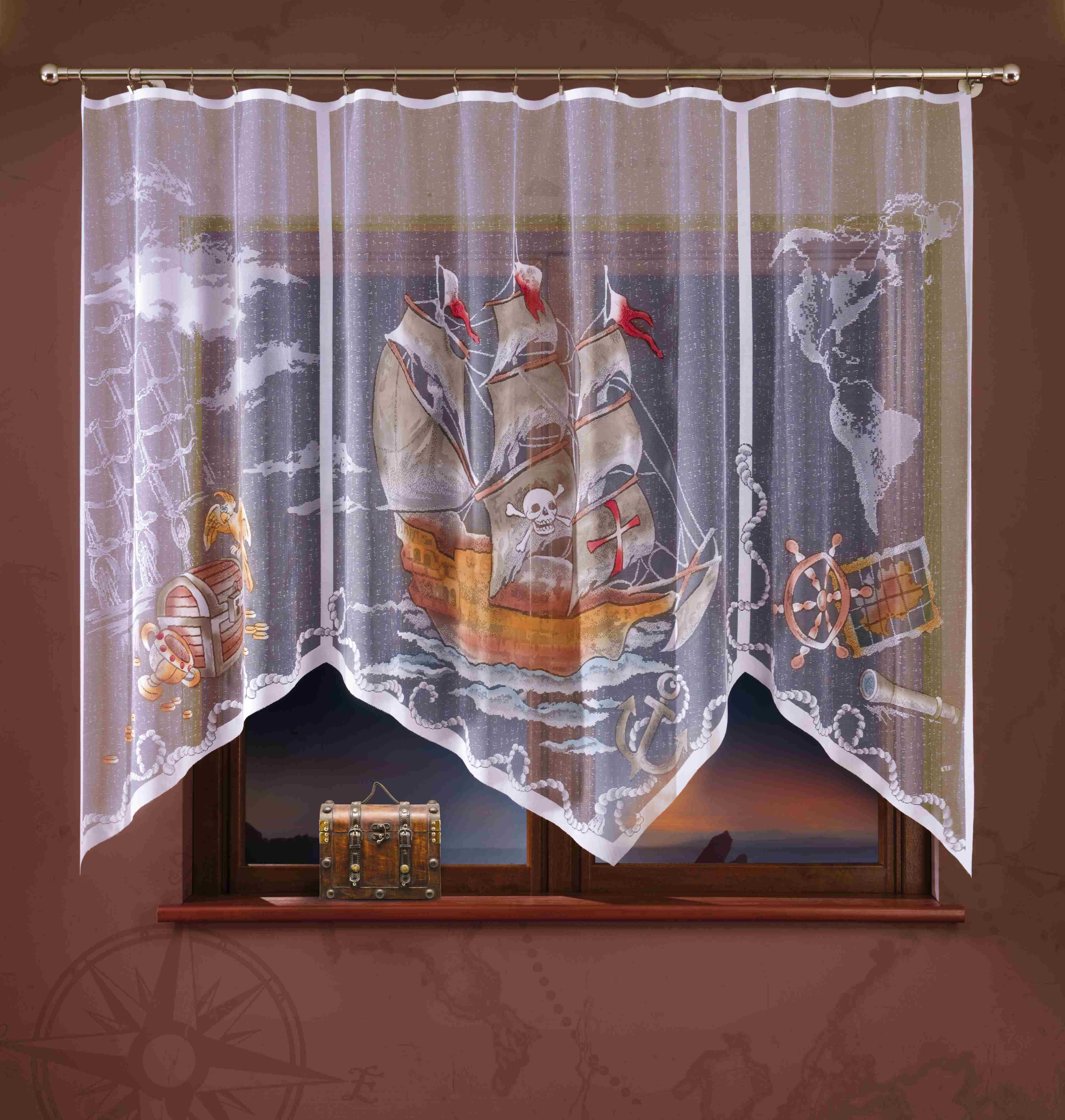 Гардина Wisan, на ленте, цвет: белый, коричневый, высота 180 см. 722АW040Гардина Wisan, выполненная из легкого полупрозрачного полиэстера, станет великолепным украшением окна детской комнаты. Изделие имеет ассиметричную длину и красочный рисунок в виде пиратского парусника. Качественный материал и оригинальный дизайн привлекут к себе внимание и позволят гардине органично вписаться в интерьер помещения. Гардина оснащена шторной лентой под зажимы для крепления на карниз.
