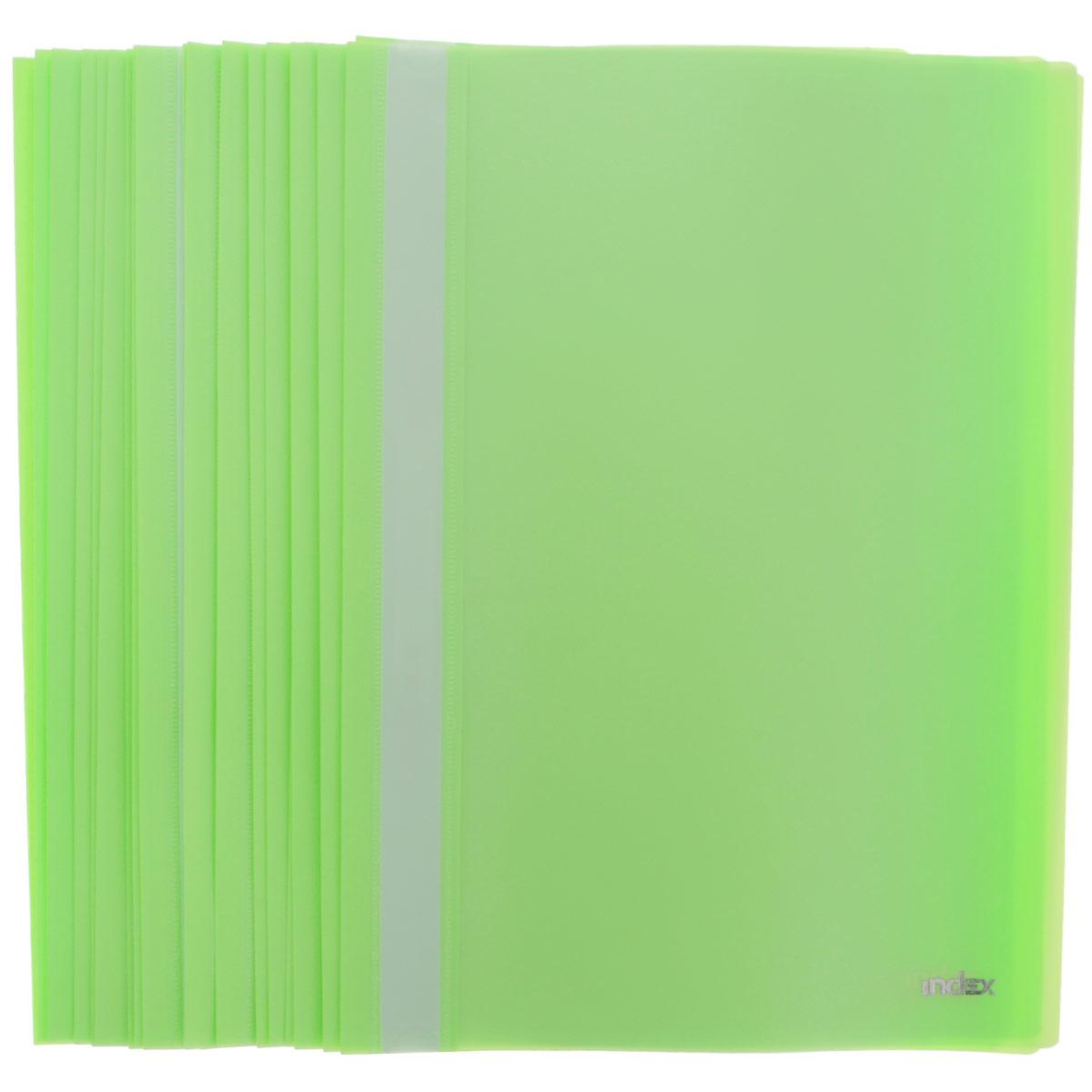 Папка-скоросшиватель Index, цвет: салатовый. Формат А4, 20 штFS-36052Папка-скоросшиватель Index, изготовленная из высококачественного полипропилена, это удобный и практичный офисный инструмент, предназначенный для хранения и транспортировки рабочих бумаг и документов формата А4. Папка оснащена верхним прозрачным матовым листом и металлическим зажимом внутри для надежного удержания бумаг. В наборе - 20 папок.Папка-скоросшиватель - это незаменимый атрибут для студента, школьника, офисного работника. Такая папка надежно сохранит ваши документы и сбережет их от повреждений, пыли и влаги.Комплектация: 20 шт.