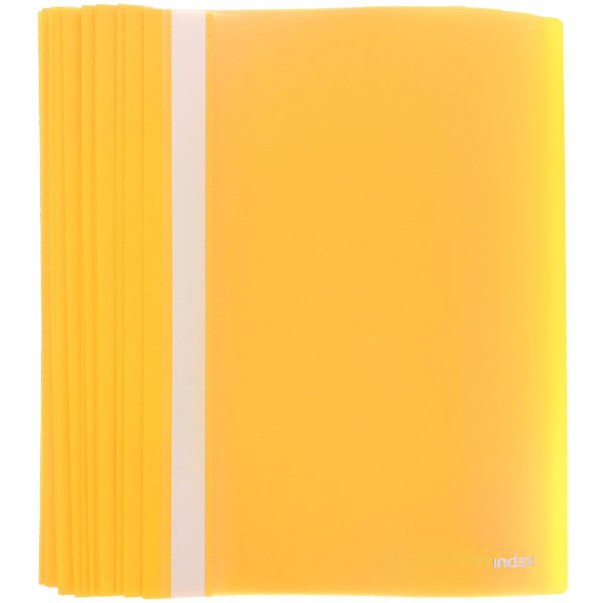 Папка-скоросшиватель Index, цвет: желтый. Формат А4, 20 штC13S041944Папка-скоросшиватель Index, изготовленная из высококачественного полипропилена, это удобный и практичный офисный инструмент, предназначенный для хранения и транспортировки рабочих бумаг и документов формата А4. Папка оснащена верхним прозрачным матовым листом и металлическим зажимом внутри для надежного удержания бумаг. В наборе - 20 папок.Папка-скоросшиватель - это незаменимый атрибут для студента, школьника, офисного работника. Такая папка надежно сохранит ваши документы и сбережет их от повреждений, пыли и влаги.Комплектация: 20 шт.