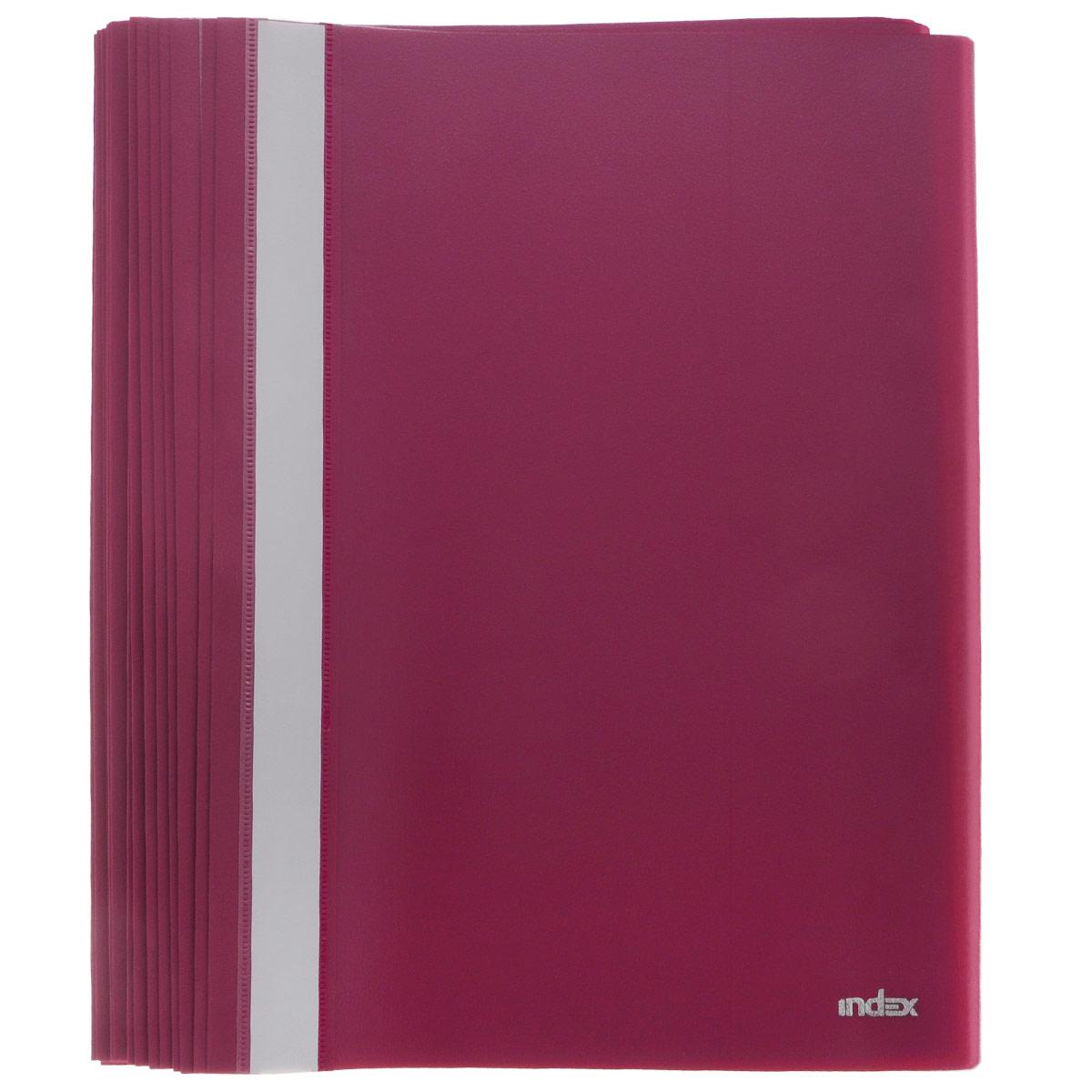 Папка-скоросшиватель Index, цвет: бордовый. Формат А4, 20 штFS-36052Папка-скоросшиватель Index, изготовленная из высококачественного полипропилена, это удобный и практичный офисный инструмент, предназначенный для хранения и транспортировки рабочих бумаг и документов формата А4. Папка оснащена верхним прозрачным матовым листом и металлическим зажимом внутри для надежного удержания бумаг. В наборе - 20 папок.Папка-скоросшиватель - это незаменимый атрибут для студента, школьника, офисного работника. Такая папка надежно сохранит ваши документы и сбережет их от повреждений, пыли и влаги.Комплектация: 20 шт.