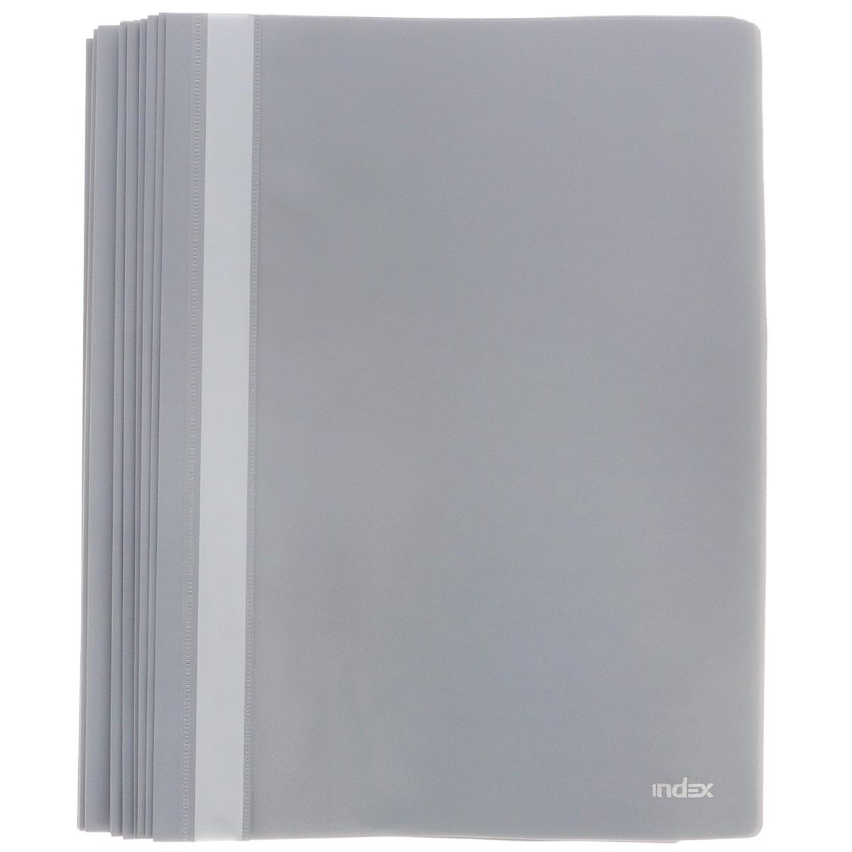 Папка-скоросшиватель Index, цвет: серый. Формат А4, 20 штAC-1121RDПапка-скоросшиватель Index, изготовленная из высококачественного полипропилена, это удобный и практичный офисный инструмент, предназначенный для хранения и транспортировки рабочих бумаг и документов формата А4. Папка оснащена верхним прозрачным матовым листом и металлическим зажимом внутри для надежного удержания бумаг. В наборе - 20 папок.Папка-скоросшиватель - это незаменимый атрибут для студента, школьника, офисного работника. Такая папка надежно сохранит ваши документы и сбережет их от повреждений, пыли и влаги.Комплектация: 20 шт.