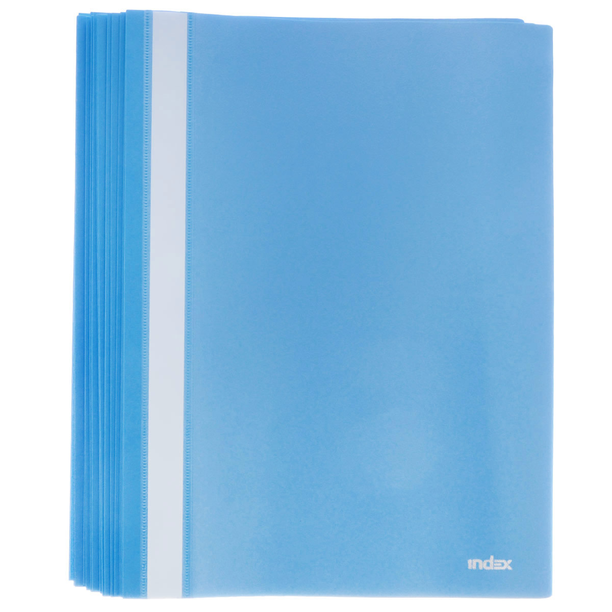 Папка-скоросшиватель Index, цвет: синий. Формат А4, 20 штFS-36052Папка-скоросшиватель Index, изготовленная из высококачественного полипропилена, это удобный и практичный офисный инструмент, предназначенный для хранения и транспортировки рабочих бумаг и документов формата А4. Папка оснащена верхним прозрачным матовым листом и металлическим зажимом внутри для надежного удержания бумаг. В наборе - 20 папок.Папка-скоросшиватель - это незаменимый атрибут для студента, школьника, офисного работника. Такая папка надежно сохранит ваши документы и сбережет их от повреждений, пыли и влаги.Комплектация: 20 шт.