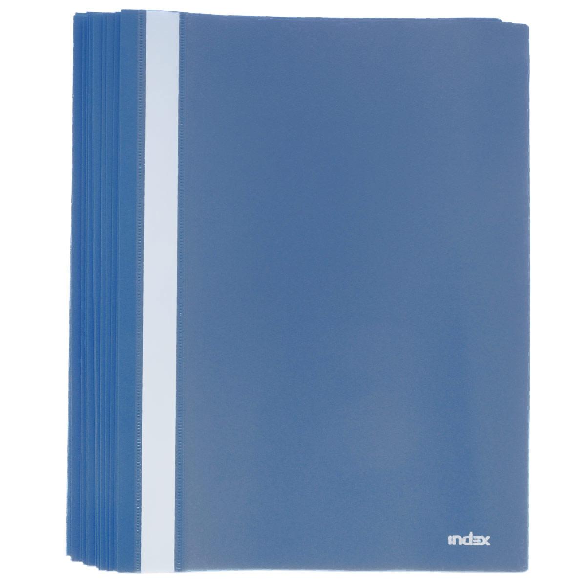 Папка-скоросшиватель Index, цвет: темно-синий. Формат А4, 20 штFS-36054Папка-скоросшиватель Index, изготовленная из высококачественного полипропилена, это удобный и практичный офисный инструмент, предназначенный для хранения и транспортировки рабочих бумаг и документов формата А4. Папка оснащена верхним прозрачным матовым листом и металлическим зажимом внутри для надежного удержания бумаг. В наборе - 20 папок.Папка-скоросшиватель - это незаменимый атрибут для студента, школьника, офисного работника. Такая папка надежно сохранит ваши документы и сбережет их от повреждений, пыли и влаги.Комплектация: 20 шт.