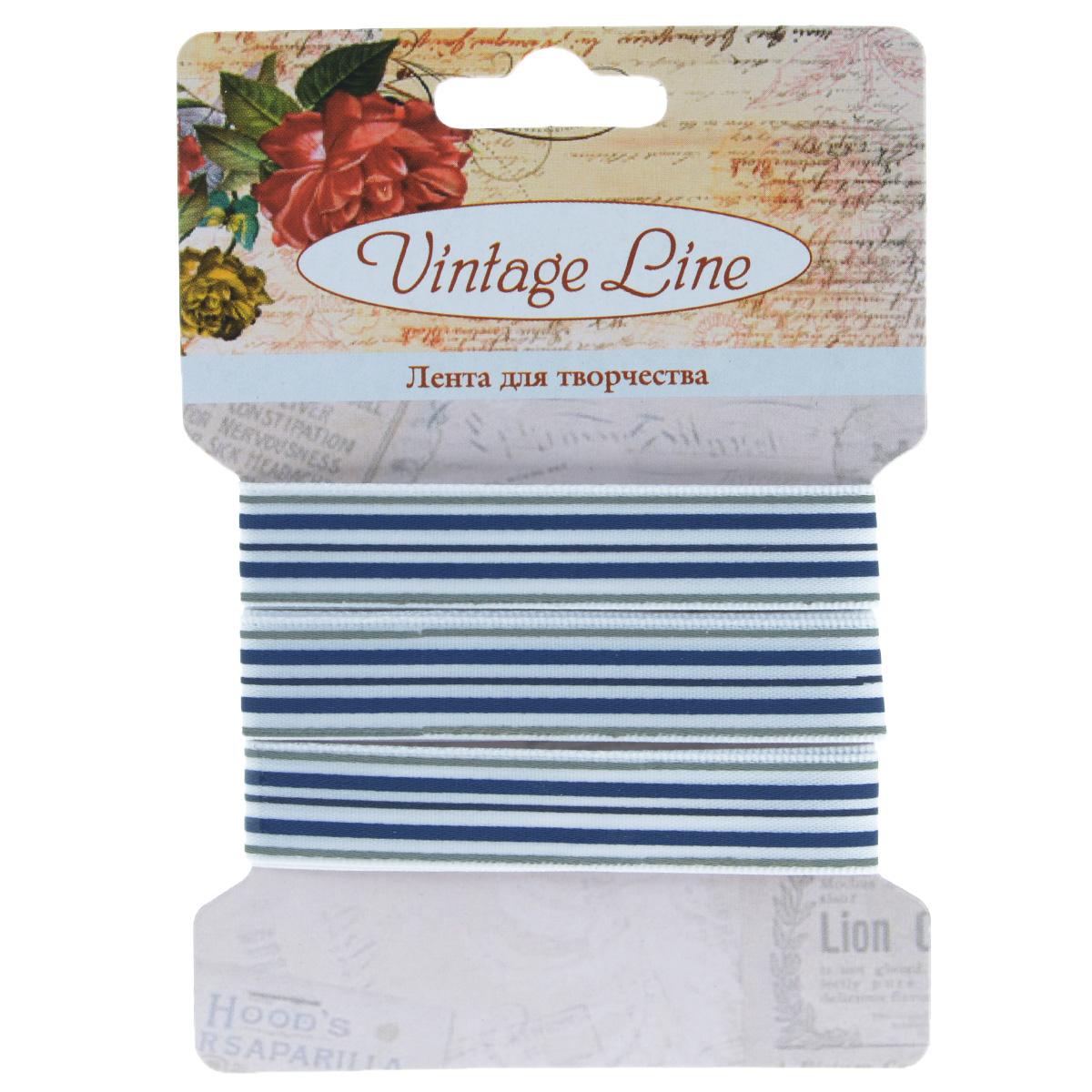 Лента декоративная Vintage Line, цвет: белый, синий, ширина 1,2 см, длина 1 м. 770930855052Декоративная лента Vintage Line выполнена из текстиля и оформлена принтом в полоску. Такая лента идеально подойдет для оформления различных творческих работ таких, как скрапбукинг, аппликация, декор коробок и открыток и многое другое. Лента наивысшего качества практична в использовании. Она станет незаменимым элементом в создании рукотворного шедевра. Ширина: 1,2 см.Длина: 1 м.