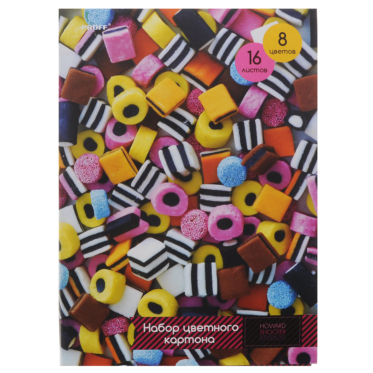 Набор цветного картона Proff  Сладости, 16 листов72523WDНабор цветного мелованного картона Proff Сладости позволит создавать всевозможные аппликации и поделки. Набор состоит из16 листов формата А4 одностороннего цветного картона восьми цветов: желтого, оранжевого, красный, белого, голубого, черного, коричневого и зеленого. Создание поделок из цветного картона позволяет ребенку развивать творческие способности, кроме того, это увлекательный досуг. Набор упакован в картонную папку с аппетитным изображением.