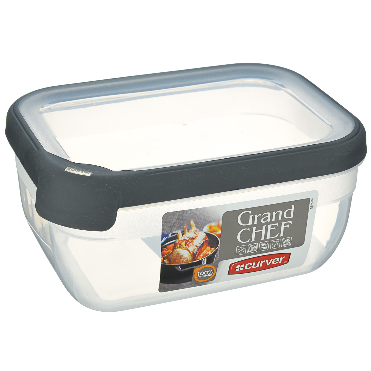 Емкость для заморозки и СВЧ Curver Grand Chef, цвет: прозрачный, серый, 1,8 лVT-1520(SR)Прямоугольная емкость для заморозки и СВЧ Grand Chef изготовлена из высококачественного пищевого пластика (BPA free), который выдерживает температуру от -40°С до +100°С. Стенки емкости и крышка прозрачные. Крышка по краю оснащена силиконовой вставкой, благодаря которой плотно и герметично закрывается, дольше сохраняя продукты свежими и вкусными. Емкость удобно брать с собой на пикник, дачу, в поход или просто использовать для хранения пищи в холодильнике. Можно использовать в микроволновой печи и для заморозки в морозильной камере. Можно мыть в посудомоечной машине.