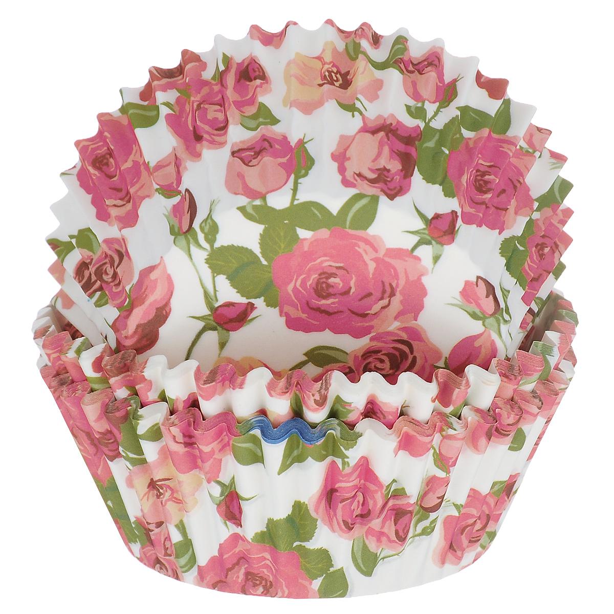 Набор бумажных форм для кексов Dolce Arti Розы, цвет: белый, розовый, диаметр 5 см, 50 шт54 009312Набор Dolce Arti Розы состоит из 50 бумажных форм для кексов, оформленных красочным изображением роз. Они предназначены для выпечки и упаковки кондитерских изделий, также могут использоваться для сервировки орешков, конфет и много другого. Для одноразового применения. Гофрированные бумажные формы идеальны для выпечки кексов, булочек и пирожных.Высота стенки: 3 см. Диаметр (по верхнему краю): 7 см.Диаметр дна: 5 см.