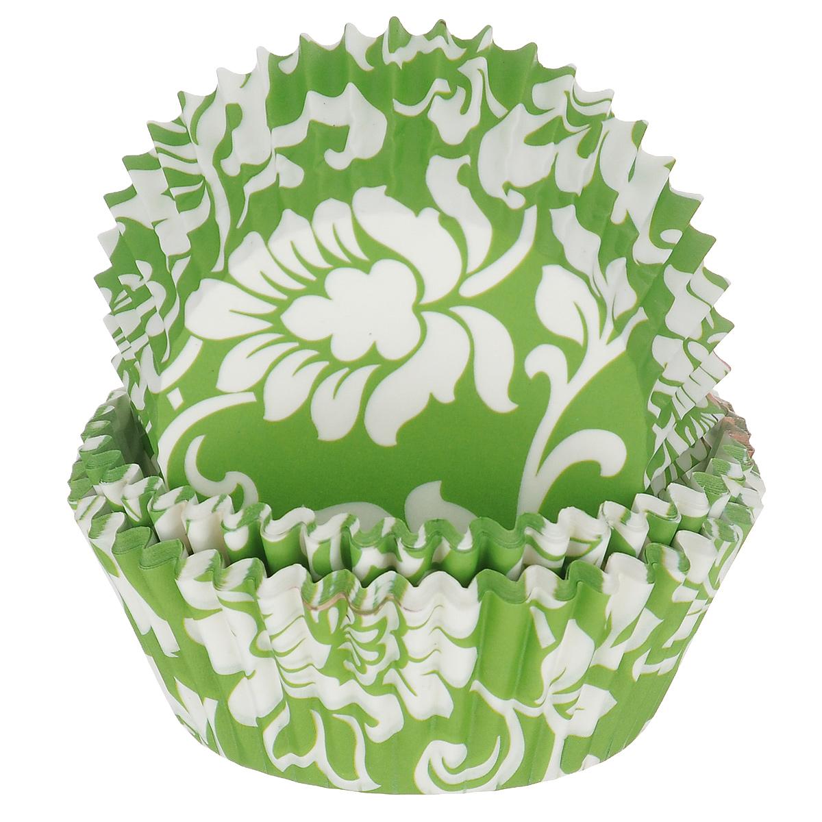 Набор бумажных форм для кексов Dolce Arti Цветочный узор, цвет: зеленый, белый, диаметр дна 5 см, 50 шт54 009312Набор Dolce Arti Цветочный узор состоит из 50 бумажных форм для кексов, оформленных цветочным узором. Они предназначены для выпечки и упаковки кондитерских изделий, также могут использоваться для сервировки орешков, конфет и много другого. Для одноразового применения. Гофрированные бумажные формы идеальны для выпечки кексов, булочек и пирожных.Высота стенки: 3 см. Диаметр по верхнему краю: 7 см.Диаметр дна: 5 см.