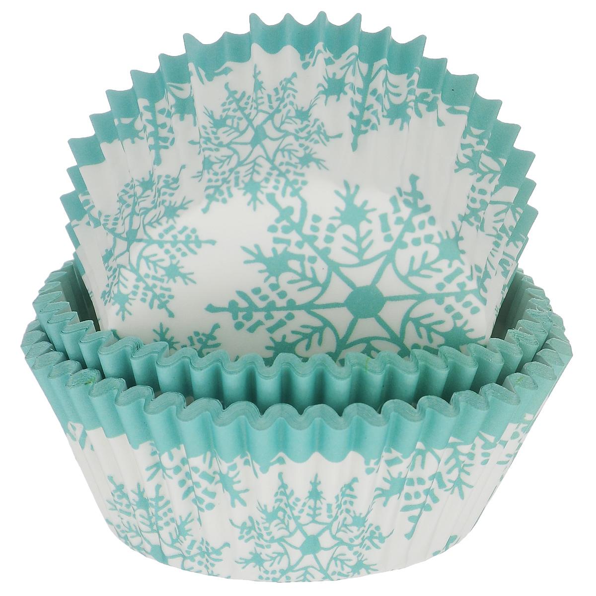 Набор бумажных форм для кексов Dolce Arti Снежинки, цвет: бирюзовый, белый, диаметр 5 см, 50 штDA080216Набор Dolce Arti Снежинки состоит из 50 бумажных форм для кексов, оформленных изображением снежинок. Они предназначены для выпечки и упаковки кондитерских изделий, также могут использоваться для сервировки орешков, конфет и много другого. Для одноразового применения. Гофрированные бумажные формы идеальны для выпечки кексов, булочек и пирожных.Высота стенки: 3 см. Диаметр (по верхнему краю): 7 см.
