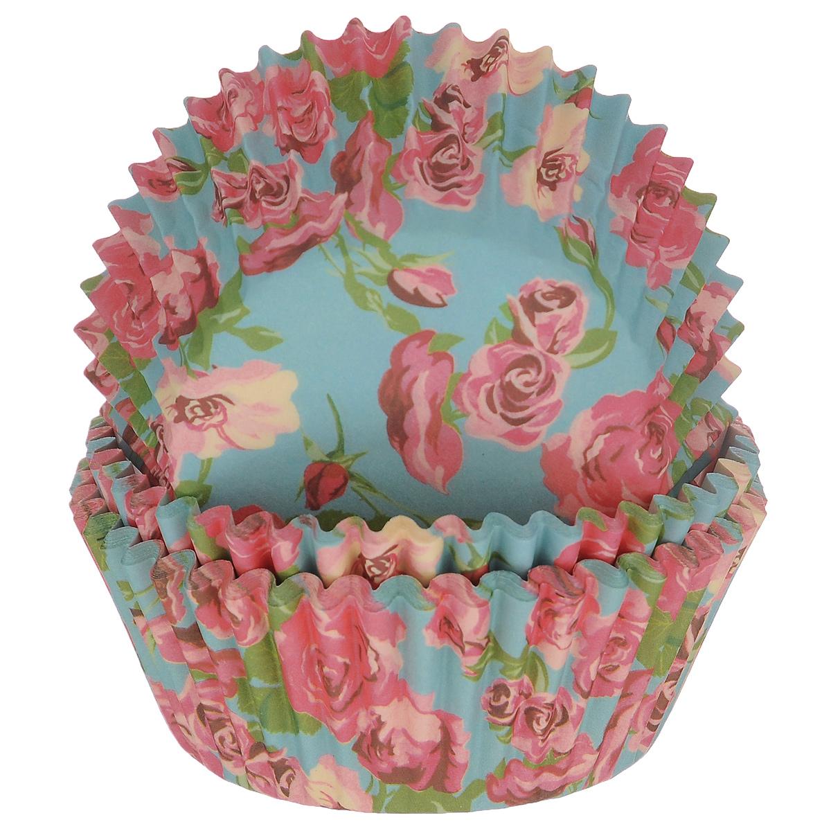 Набор бумажных форм для кексов Dolce Arti Розы, цвет: голубой, розовый, диаметр 5 см, 50 шт54 009312Набор Dolce Arti Розы состоит из 50 бумажных форм для кексов, оформленных красочным изображением роз. Они предназначены для выпечки и упаковки кондитерских изделий, также могут использоваться для сервировки орешков, конфет и много другого. Для одноразового применения. Гофрированные бумажные формы идеальны для выпечки кексов, булочек и пирожных.Высота стенки: 3 см. Диаметр (по верхнему краю): 7 см.Диаметр дна: 5 см.