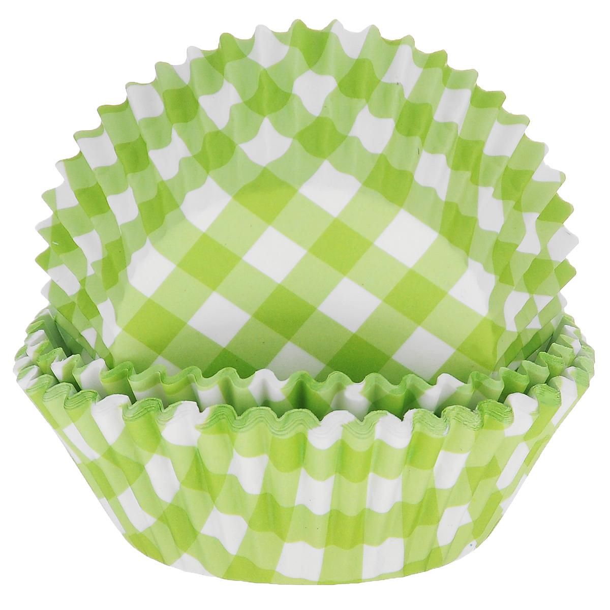Набор бумажных форм для кексов Dolce Arti Клетка, цвет: зеленый, диаметр 7 см, 50 штFS-91909Набор Dolce Arti Клетка состоит из 50 бумажных форм для кексов, оформленных принтом в клетку. Они предназначены для выпечки и упаковки кондитерских изделий, также могут использоваться для сервировки орешков, конфет и много другого. Для одноразового применения. Гофрированные бумажные формы идеальны для выпечки кексов, булочек и пирожных.Высота стенки: 3 см. Диаметр (по верхнему краю): 7 см.