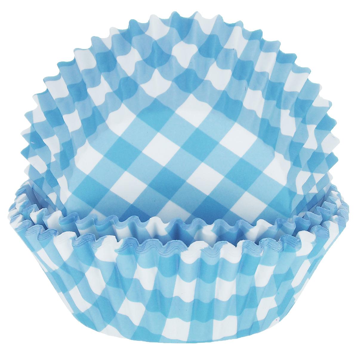 Набор бумажных форм для кексов Dolce Arti Клетка, цвет: голубой, диаметр 5 см, 50 шт94672Набор Dolce Arti Клетка состоит из 50 бумажных форм для кексов, оформленных принтом в клетку. Они предназначены для выпечки и упаковки кондитерских изделий, также могут использоваться для сервировки орешков, конфет и много другого. Для одноразового применения. Гофрированные бумажные формы идеальны для выпечки кексов, булочек и пирожных.Высота стенки: 3 см. Диаметр (по верхнему краю): 7 см.Диаметр дна: 5 см.