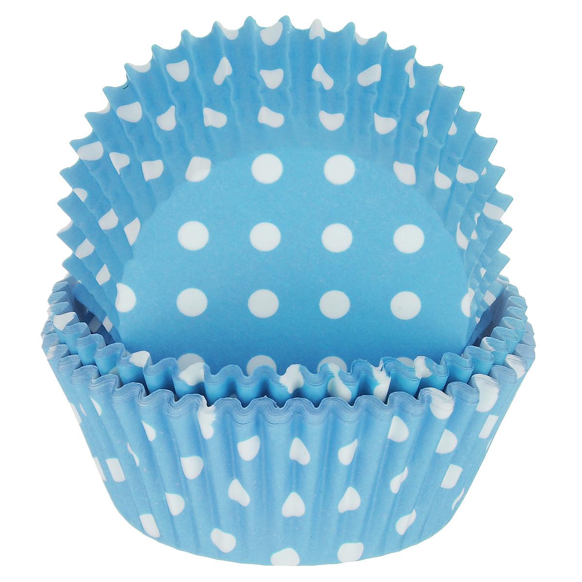 Набор бумажных форм для кексов Dolce Arti Горошек, цвет: голубой, диаметр 5 см, 50 штFS-91909Набор Dolce Arti Горошек состоит из 50 бумажных форм для кексов, оформленных принтом в горох. Они предназначены для выпечки и упаковки кондитерских изделий, также могут использоваться для сервировки орешков, конфет и много другого. Для одноразового применения. Гофрированные бумажные формы идеальны для выпечки кексов, булочек и пирожных.Высота стенки: 3 см. Диаметр (по верхнему краю): 7 см.Диаметр дна: 5 см.