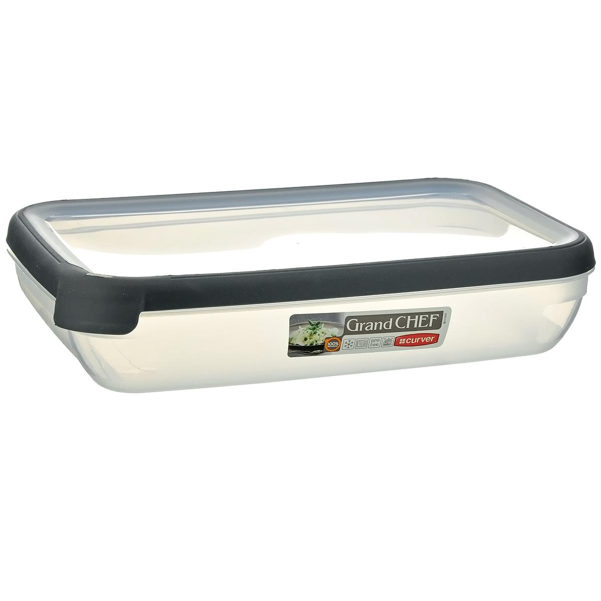 Емкость для заморозки и СВЧ Curver Grand Chef, цвет: серый, 2,6 лМ 1209Прямоугольная емкость для заморозки и СВЧ Grand Chef изготовлена из высококачественного пищевого пластика (BPA free), который выдерживает температуру от -40°С до +100°С. Стенки емкости и крышка прозрачные. Крышка по краю оснащена силиконовой вставкой, благодаря которой плотно и герметично закрывается, дольше сохраняя продукты свежими и вкусными. Емкость удобно брать с собой на пикник, дачу, в поход или просто использовать для хранения пищи в холодильнике. Можно использовать в микроволновой печи и для заморозки в морозильной камере. Можно мыть в посудомоечной машине.