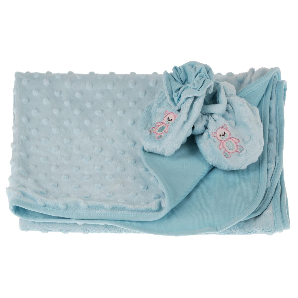Набор детский Baby Nice: покрывало, пинетки, цвет: голубой531-105Детский набор Baby Nice в коляску, состоит из одеяла и пинеток. Набор изготовлен из экологичных материалов: верх изготовлен из ткани нового поколения Micro Velour, обладающей терморегулирующими и влагорегулирующими свойствами, подкладка - 100% натуральный хлопчатобумажный трикотаж. Пинетки украшены небольшой вышивкой в виде мишек. Они дышащие, из легкой воздухопроницаемой ткани, и сохраняющие тепло, что не позволят замерзнуть ножкам ребенка. Мама малыша, укрытого потрясающе мягким, необыкновенно легким и исключительно теплым одеялом, может быть спокойна за покой и комфортный сон своего ребенка на прогулке, на свежем воздухе. Набор окрашен гипоаллергенными красителями. Размер одеяла: 70 см х 98 см. Пинетки для детей от 0 до 3 лет.