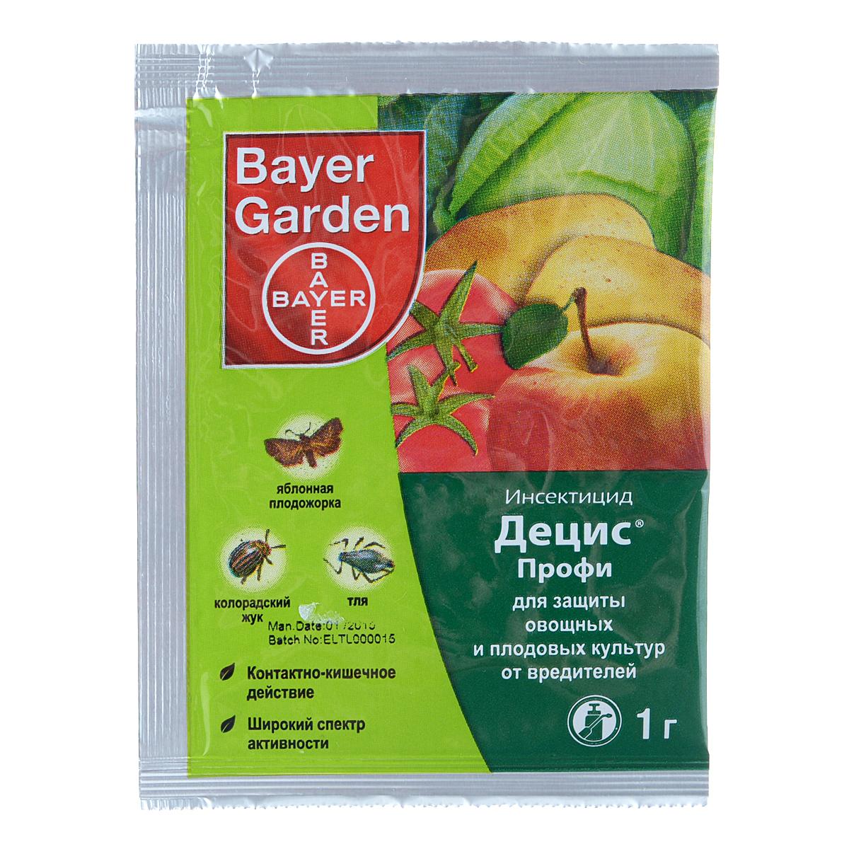 Инсектицид Bayer Garden Децис Профи, для защиты овощных и плодовых культур от вредителей, 1 г11Инсектицид Bayer Garden Децис Профи выполнен в виде водно-диспергируемых гранул и предназначен для защиты овощных и плодовых культур от вредителей. Очень эффективен против колорадского жука на картофеле и томатах, яблонной плодожорки, листовертки, капустной и репной белянки, капустной и подгрызающей совки, блошек, тли. Срок ожидания: 20 дней для картофеля и капусты, 30 дней для других культур.Вес: 1 г.Действующее средство: дельтаметрин.Концентрация: 250 г/кг.