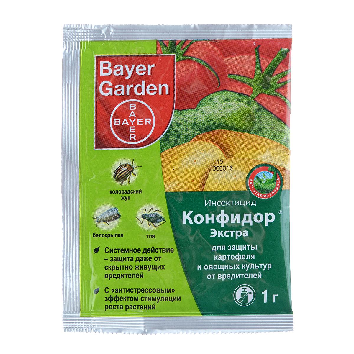 Инсектицид Bayer Garden Конфидор Экстра, для защиты картофеля и овощных культур от вредителей, 1 г инсектицид для защиты картофеля от колорадского жука и сосущих вредителей калаш 10 мл
