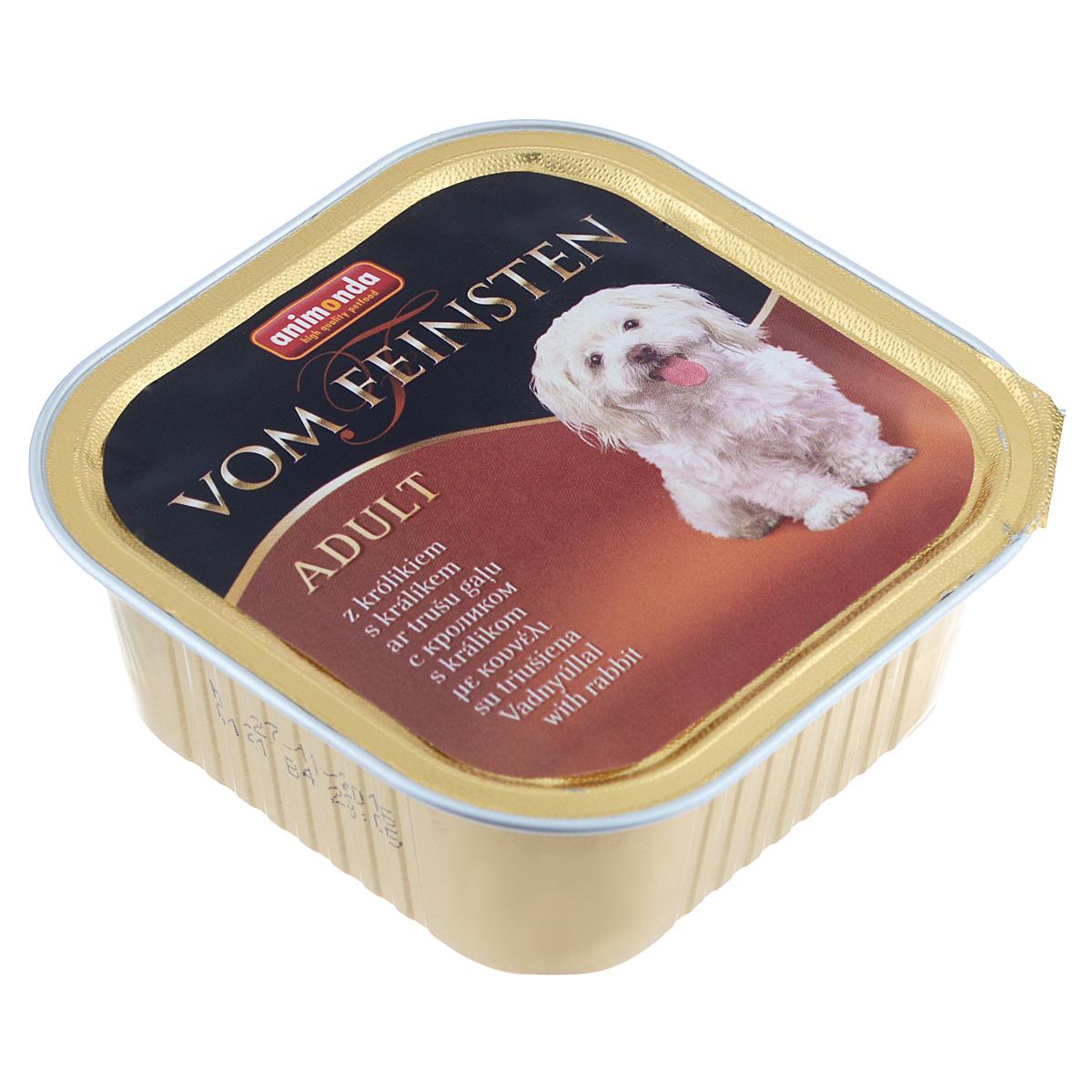 Консервы Animonda Vom Feinsten для взрослых собак, с кроликом, 150 г18449Консервы Animonda Vom Feinsten - это консервированное полноценное и деликатесное питание на основе отборного мяса в комбинации со специальными ингредиентами для для взрослых собак высшего качества.Состав: мясо и мясные продукты 63% (свинина, говядина, домашняя птица, кролик 8%), бульон, минералы.Анализ: белок 10,5%, жир 4,5%, клетчатка 0,4%, зола 2%, влажность 81%.Добавки (на 1 кг продукта): витамин D3 120 МЕ, витамин Е (a-токоферол) 15 мг. Вес: 150 г.Товар сертифицирован.