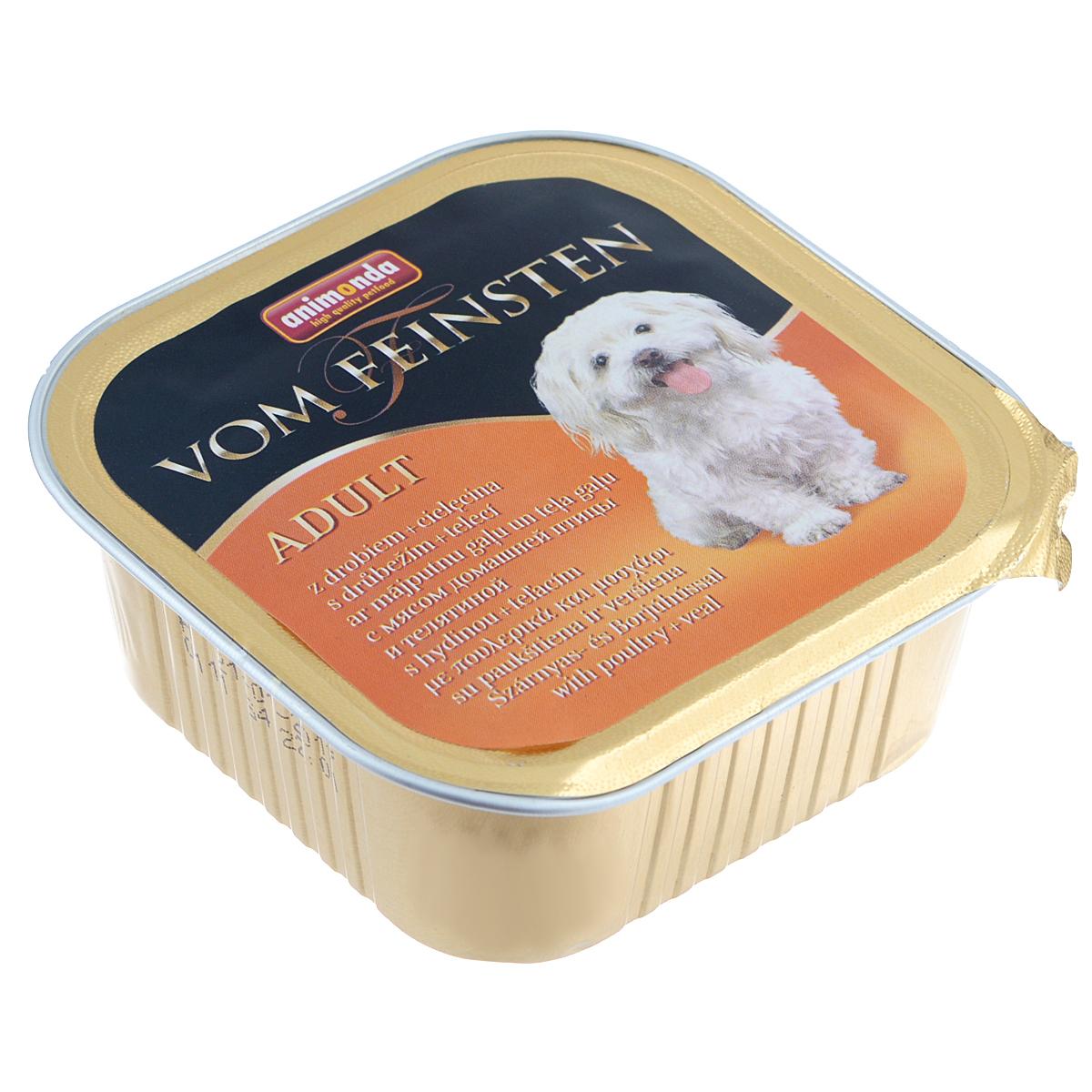 Консервы Animonda Vom Feinsten для взрослых собак, с домашней птицей и телятиной, 150 г139626Консервы Animonda Vom Feinsten - это консервированное полноценное и деликатесное питание на основе отборного мяса в комбинации со специальными ингредиентами для взрослых собак высшего качества.Состав: мясо и мясные продукты 63% (домашняя птица 25%, говядина, свинина, телятина 8%), бульон, минералы.Анализ: белок 10,5%, жир 4,5%, клетчатка 0,4%, зола 2,5%, влажность 81%.Добавки (на 1 кг продукта): витамин D3 120 МЕ, витамин Е (a-токоферол) 15 мг. Вес: 150 г.Товар сертифицирован.