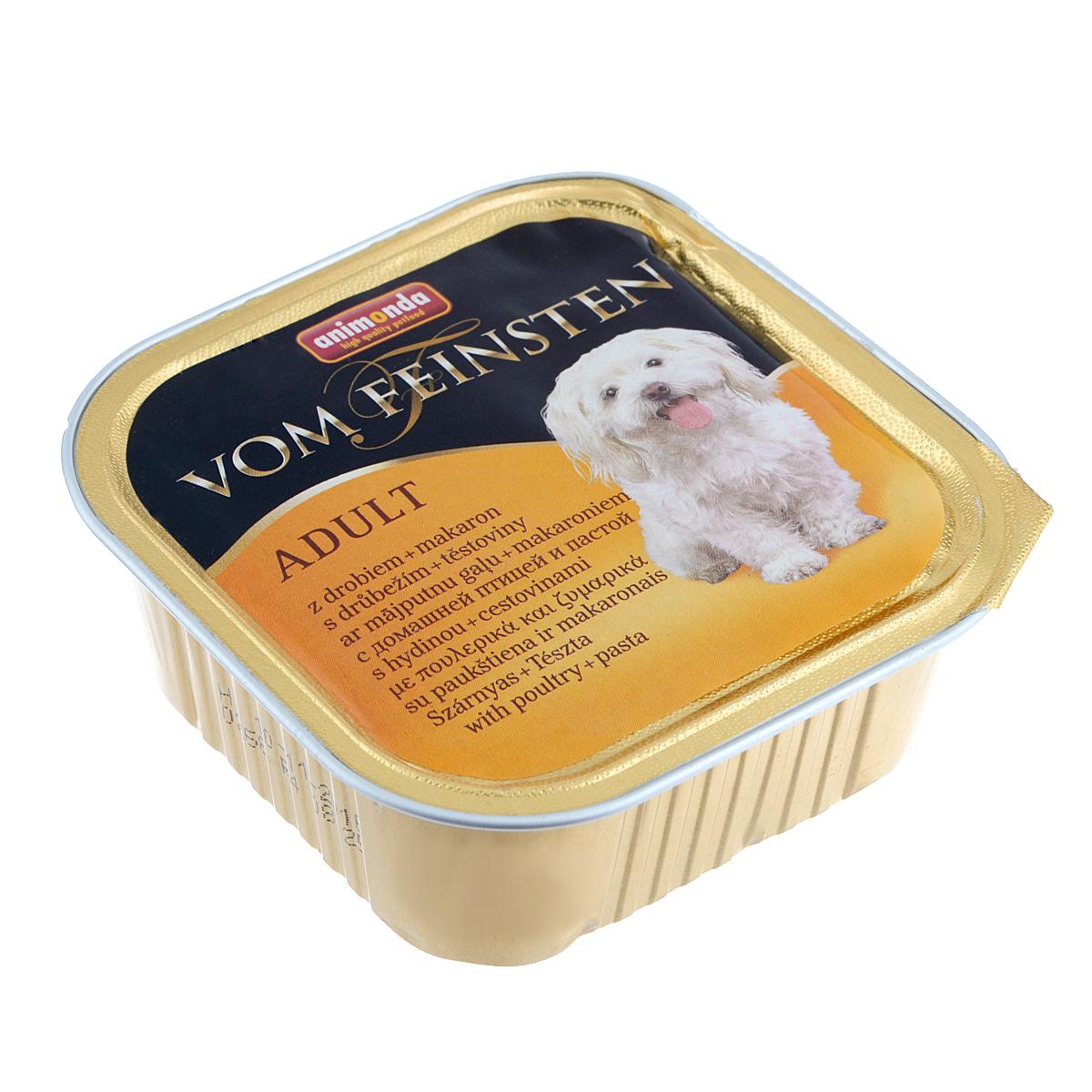 Консервы Animonda Vom Feinsten для взрослых собак, с домашней птицей и пастой, 150 г0120710Консервы Animonda Vom Feinsten - это консервированное полноценное и деликатесное питание на основе отборного мяса в комбинации со специальными ингредиентами для взрослых собак высшего качества.Состав: мясо и мясные продукты 59% (домашняя птица 25%, говядина, свинина), бульон, макаронные изделия (лапша 4%), минералы.Анализ: белок 10,5%, жир 4,5%, клетчатка 0,4%, зола 2,5%, влажность 81%.Добавки (на 1 кг продукта): витамин D3 120 МЕ, витамин Е (a-токоферол) 15 мг. Вес: 150 г.Товар сертифицирован.