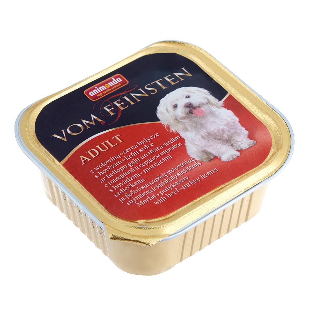 Консервы Animonda Vom Feinsten для взрослых собак, с говядиной и сердцем индейки, 150 г46676Консервы Animonda Vom Feinsten - блюда для гурманов в собачьем мире, консервы, представлены многообразием мясных блюд. Приготовленные из тщательно отобранных сортов мяса, они внесут приятное разнообразие в меню вашей собаки, а также обеспечат прекрасное состояние здоровья и внешнего вида. Состав: мясо и мясные продукты 63% (говядина 35%, свинина, сердце индейки 8%),бульон, минералы.Анализ: белок 10,5%, жир 4,5%, клетчатка 0,4%, зола 2,5%, влажность 81%. Добавки (на 1 кг продукта): витамин D3 120 МЕ, витамин Е (a-токоферол) 15 мг.Вес: 150 г.Товар сертифицирован.