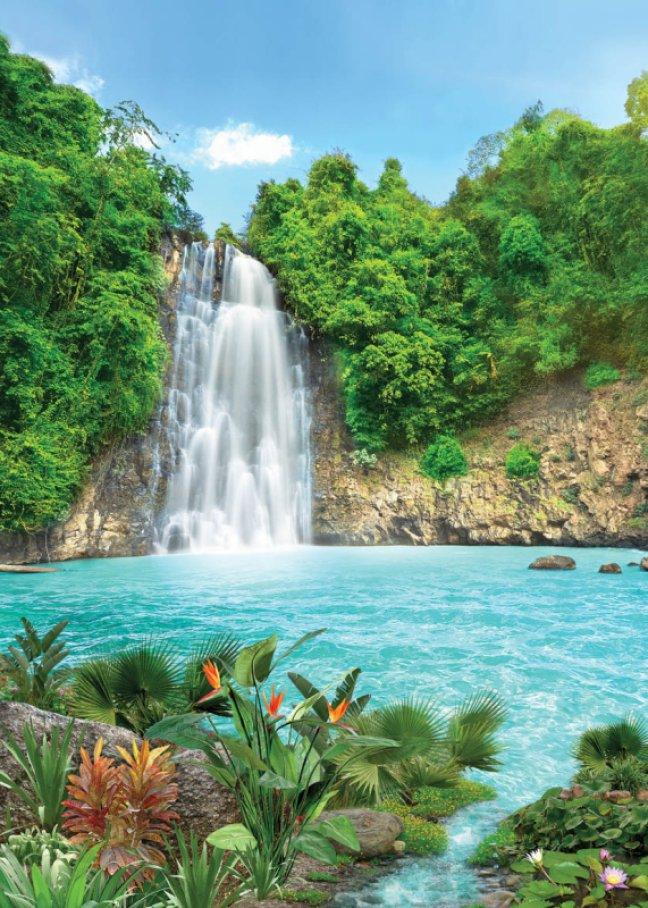 Фотообои Твоя Планета Premium. Тропический водопад, 8 листов, 194 см х 272 см4607161085Основа фотообоев Твоя Планета Premium. Тропический водопад - импортная бумага высокого качества и повышенной плотности с нанесенным на неё цветным фотоизображением. Технология сборки фрагментов в единую картину довольно проста. Это наиболее распространенный вид обоев, позволяющих создать в квартире (комнате) определенное настроение и даже несколько расширить оптический объем. Фотообои пользуются популярностью потому, что они недорогие и при этом позволяют получить массу удовольствий при созерцании изображения.Количество листов: 8. Размер (ШхВ): 194 см х 272 см.