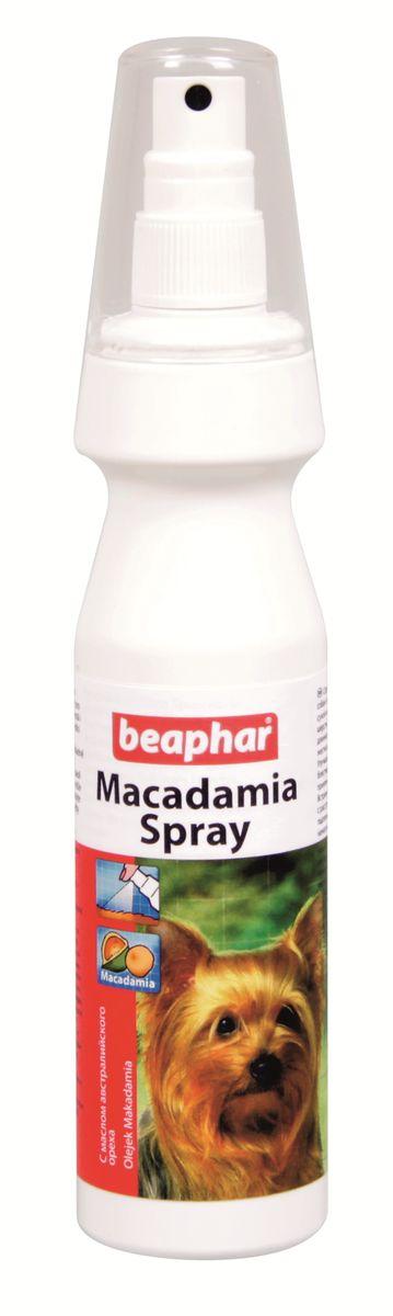 Спрей для собак и кошек Beaphar Macadamia Spray, распутывающий, с маслом австралийского ореха, 150 мл0120710Спрей Beaphar Macadamia Spray с маслом австралийского ореха предназначен для сухой кожи и хрупкой поврежденной бесцветной шерсти. Идеальный кондиционер как для длинношерстных, так и для короткошерстных собак и кошек, придающий шерсти мягкость, шелковистость и блеск. Состав: вода, норковый жир, касторовое масло (гидрогенизированное, этоксилированное), 3-бегенойлокси-2-гидрокситриметил аммоний хлорид, 1,2 пропандиол, ароматизатор, 5-бром-5-нитро-1,3-диоксан. Способ применения: ограничения по применению относительно количества отсутствуют, зависит от размера животного. Тщательно распылите на расстоянии 30 см, оставьте в течение 10 минут и хорошо прочешите шерсть. Объем: 150 мл. Товар сертифицирован.