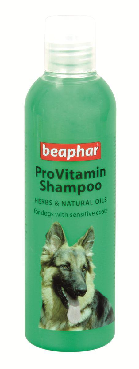 Шампунь для собак с чувствительной кожей Beaphar Pro Vitamin, 250 мл0120710Шампунь Beaphar Pro Vitamin с особым сбором трав и натуральных масел специально создан для ухода за собаками с чувствительной кожей. Это очень мягкий и нежный шампунь, он легко удаляет загрязнения с кожи и шерсти не вызывая раздражения и сухости. После применения шампуня, нормализуется водный баланс кожи и работа сальных желез, шерсть приобретает особый блеск и ухоженный вид. Шампунь нейтрален к РН кожи животных, поэтому может также использоваться для мытья кошек с чувствительной кожей, а также для кошек и собак с повышенной жирностью кожи и шерсти. Имеет ароматный запах хвойного леса. Способ применения: шампунь концентрированный и может быть разведен водой 1:1. Количество используемого шампуня зависит от размера собаки. Смочите шерсть теплой водой и нанесите шампунь, мягко массируя, чтобы он вспенился. Оставьте на 2-3 минуты и тщательно смойте. По окончании просушите шерсть полотенцем. Объем: 250 мл. Товар сертифицирован.