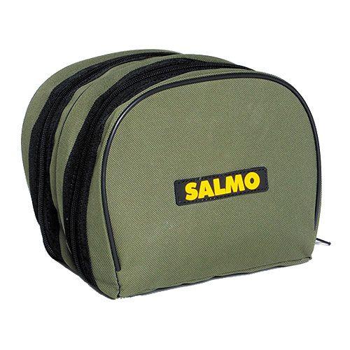 Чехол для катушек Salmo, цвет: зеленый, 18 см х 15 см х 15 см95938-55Чехол Salmo предназначен для переноски и хранения приманок. Он выполнен из прочного нейлона. Чехол имеет 2 вместительных отделения, закрывающихся на застежку-молнию. На передней части расположена резиновая нашивка с логотипом фирмы Salmo.