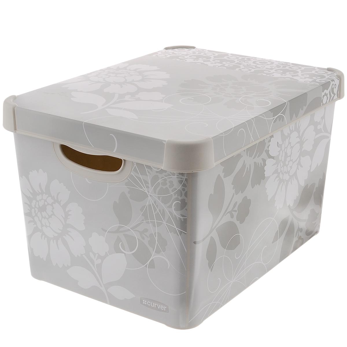 Коробка для хранения Curver Romance, цвет: серый, белый, 39 см х 29 см х 23 смБрелок для ключейКоробка Curver Romance, выполненная из высококачественного пластика, предназначена для хранения различных вещей. Изделие украшено цветочным изображением. Коробка оснащена крышкой и удобными ручками по бокам. Изящный дизайн коробки впишется в любой интерьер. Декоративная коробка поможет хранить все в одном месте, а также защитить вещи от пыли, грязи и влаги. Размер коробки: 39 см х 29 см х 23 см. Объем: 22 л.