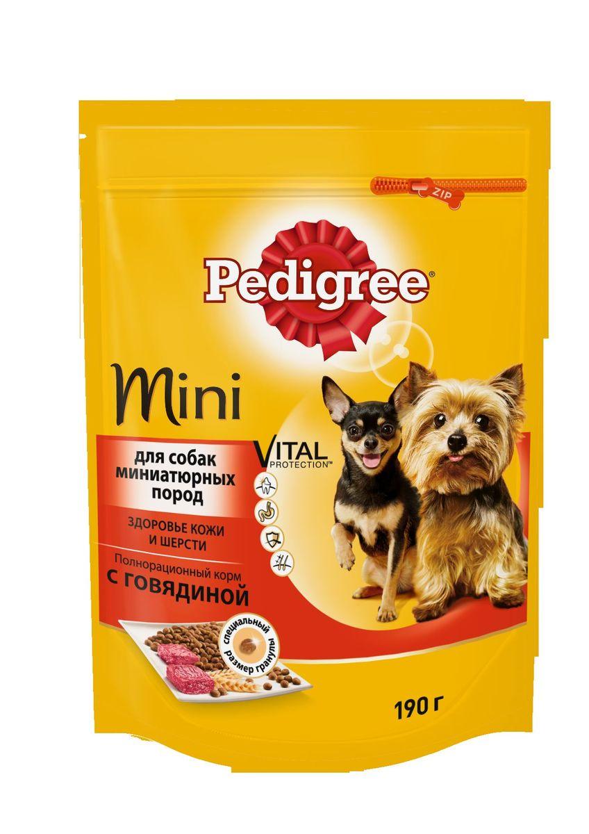 Корм сухой Pedigree для взрослых собак миниатюрных пород, с говядиной, 190 г0120710Сухой корм Pedigree для собак миниатюрных пород - это полнорационный корм с курицей, который создан с учетом потребностей. Он состоит из качественных и натуральных ингредиентов: мяса, овощей, злаков. Он создан с учетом особенностей пищеварения самых маленьких, легко усваивается и обеспечивает правильную работу их желудочно-кишечного тракта. Состав: куриная мука, пшеничная мука, кукуруза, рис, мясная мука (в том числе говядина минимум 4%), жир животный, пшеница, свекольный жом, подсолнечное масло, минералы, витамины, метионин. Пищевая ценность (100 г): белки 22 г., жиры 15 г., зола 8 г., клетчатка 4 г., влажность не более 10 г., кальций 1,3 г., фосфор 0,8 г., натрий 0,3 г., калий 0,58 г., магний 0,1 г., цинк 20 г., медь 1,5 г., витамин А 1500 МЕ, витамин Е 20 мг., витамин D3 120 МЕ, витамин В1, В2, В4, В5, В12., ниацин, омега-6, омега-3, полиненасыщенные жирные кислоты. Энергетическая ценность (100 г): 365 ккал. Вес упаковки: 190 г. Товар сертифицирован.
