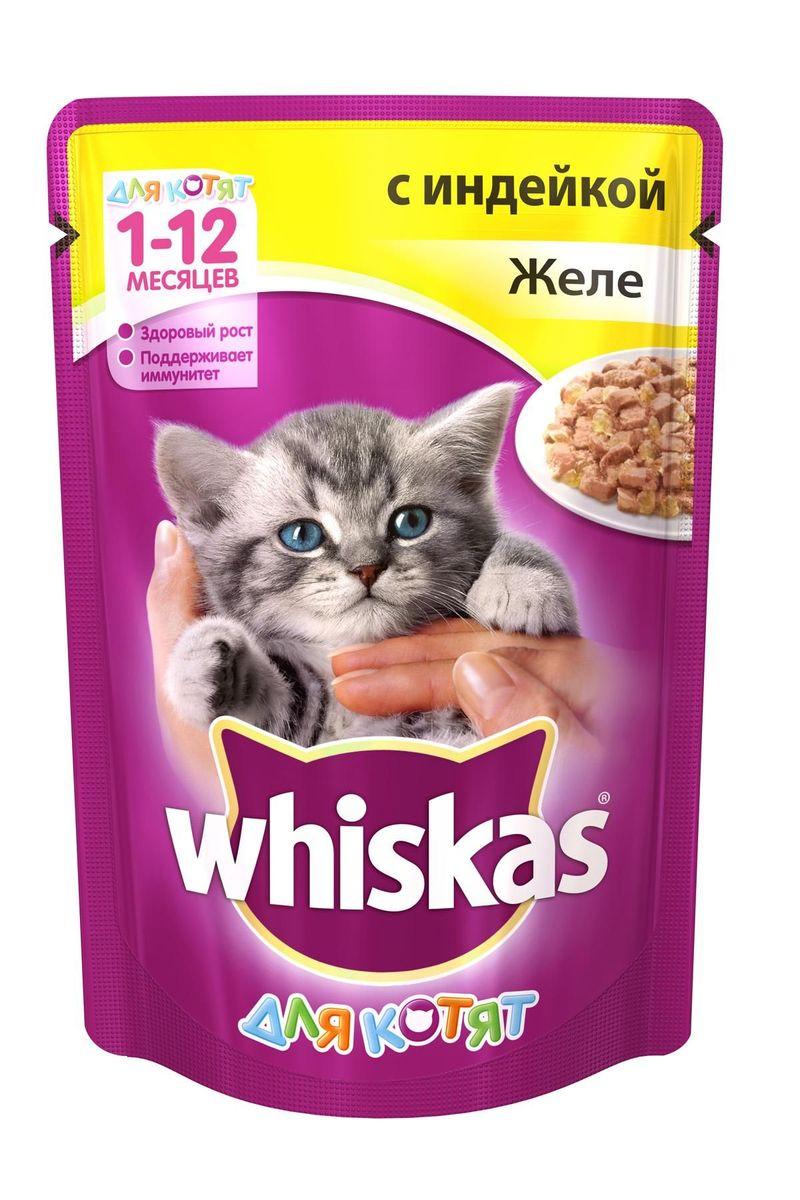 Консервы для котят Whiskas, желе с индейкой, 85 г0120710Консервы для котят Whiskas обладают приятной нежной структурой, удобной для поедания и деликатным естественным вкусом, привлекательным для самых маленьких. Такая пища станет прекрасным вариантом перехода от материнского молока к взрослому рациону. Вы можете быть уверены в том, что котенок получит только полезную и питательную пищу. Консервы имеют повышенную энергетическую ценность, благодаря чему полностью удовлетворяют потребности растущего организма и насыщают его отменным уровнем жизненных сил для активных игр, веселого времяпровождения и развития охотничьих навыков. Благодаря содержанию природных антиоксидантов рацион укрепляет иммунную систему котенка, защищает его организм от пагубного воздействия УФ-лучей, возбудителей болезней и неблагоприятной экологической обстановки. Уровень кальция и фосфора и их соотношение тщательно выверены для обеспечения здорового роста костей и зубов. В состав входят жирные кислоты (Омега-6) и цинк, необходимые для обеспечения здоровья кожи. Состав: мясо и субпродукты (в том числе индейка не менее 4%), растительное масло, таурин, витамины, минеральные вещества. Пищевая ценность: белки - 8,3 г., жиры - 6 г., зола - 2,5 г., клетчатка - 0,3 г., кальций - не менее 0,21 г., жирные кислоты (омега 6) - не менее 0,18 г., витамин А - не менее 200 МЕ, витамин Е - не менее 2,0 мг., таурин - не менее 0,08 г., цинк - не менее 2,2 мг., влага - 82 г. Энергетическая ценность (100г): 87 ккал/ 364 кДж. Вес упаковки: 85 г. Товар сертифицирован.