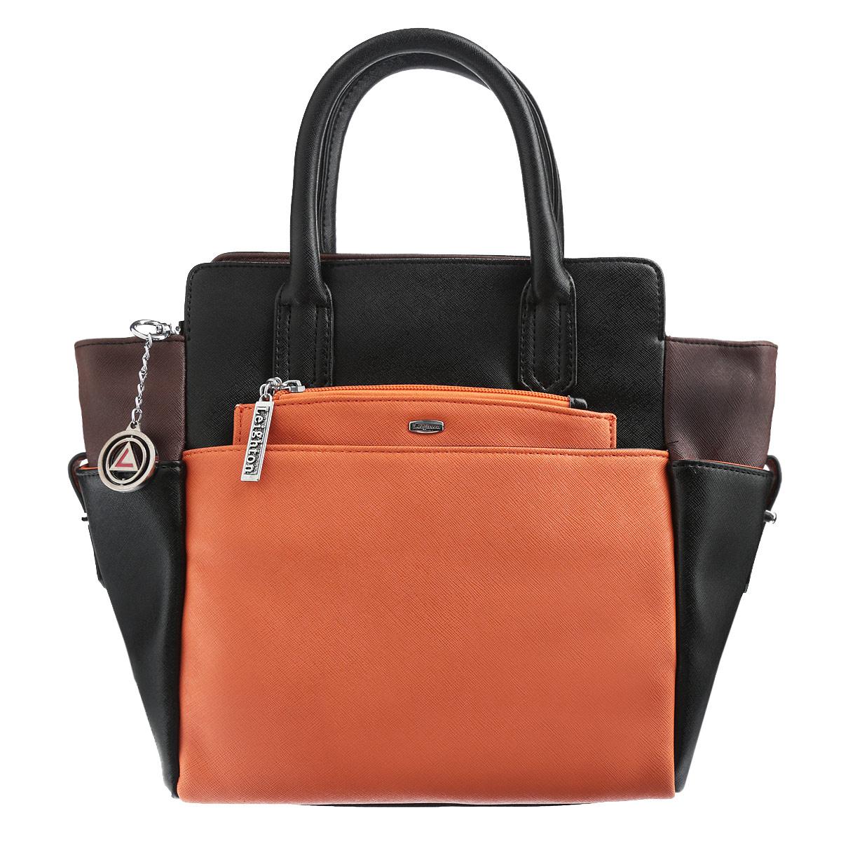 Сумка женская Leighton, цвет: черный, темно-коричневый, оранжевый. 570382-3769/1/3769/7/3769BA7426Стильная женская сумка Leighton изготовлена из высококачественной искусственной кожи. Сумка состоит из одного большого отделения. Внутри расположены два накладных кармашка для мелочей, один вшитый карман на застежке-молнии и смежный карман на застежке-молнии. Тыльная и фронтальная стороны сумки дополнены карманами на магнитных кнопках. Также сумка дополнена съемным карманом-портмоне на цепочке, который надежно закрепляется на магнитной кнопке в одном из карманов, но при необходимости может быть извлечен. На внутренней части сумки находятся два прорезных кармана на застежке-молнии, расположенные выше основного отделения. Боковые стороны сумки также оснащены небольшими карманами на ремешках.Сумка имеет удобные ручки для переноски и плечевой ремень с регулируемой длиной. Дно защищено четырьмя металлическими ножками, обеспечивающими необходимую устойчивость. Сумка Leighton - это практичный и удобный аксессуар, который станет функциональным дополнением к любому стилю. Блестящий дизайн сумки, сочетающий классические формы с оригинальным оформлением, позволит вам подчеркнуть свою индивидуальность и сделает ваш образ изысканным и завершенным.