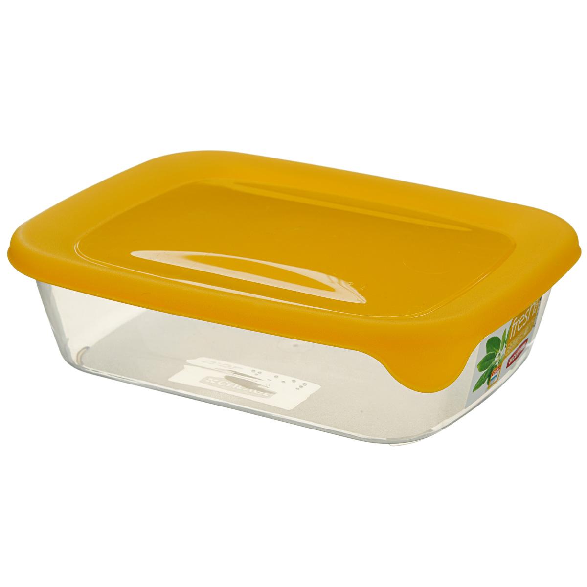 Емкость для заморозки и СВЧ Curver Fresh & Go, цвет: желтый, 1 лМ 2822Прямоугольная емкость для заморозки и СВЧ Curver Fresh & Go изготовлена из высококачественного пищевого пластика (BPA free), который выдерживает температуру от -40°С до +100°С. Стенки емкости прозрачные, а крышка цветная. Она плотно закрывается, дольше сохраняя продукты свежими и вкусными. Емкость удобно брать с собой на работу, учебу, пикник или просто использовать для хранения пищи в холодильнике. Можно использовать в микроволновой печи и для заморозки в морозильной камере. Можно мыть в посудомоечной машине.