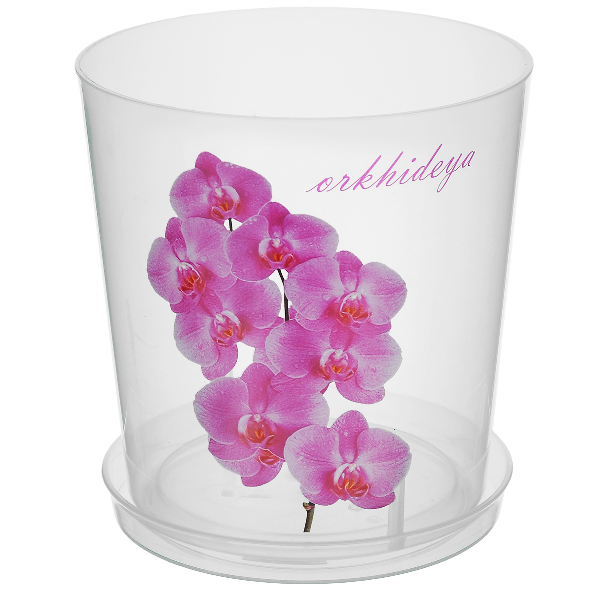 Горшок для орхидей Альтернатива, цвет: белый, 1,8 лMRC103TГоршок для орхидей Альтернатива изготовлен из прочного прозрачного пластика. Внешние стенки оформлены изысканным изображением розовых цветков орхидеи и надписью Orkhideya. Горшок оснащен поддоном. Диаметр горшка (по верхнему краю): 14 см. Высота горшка: 15 см.