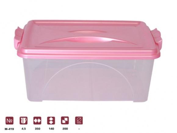 Контейнер прямоуг. с ручками 4,5л.. М419 розовый74-0060Контейнер прямоуг. с ручками 4,5л.