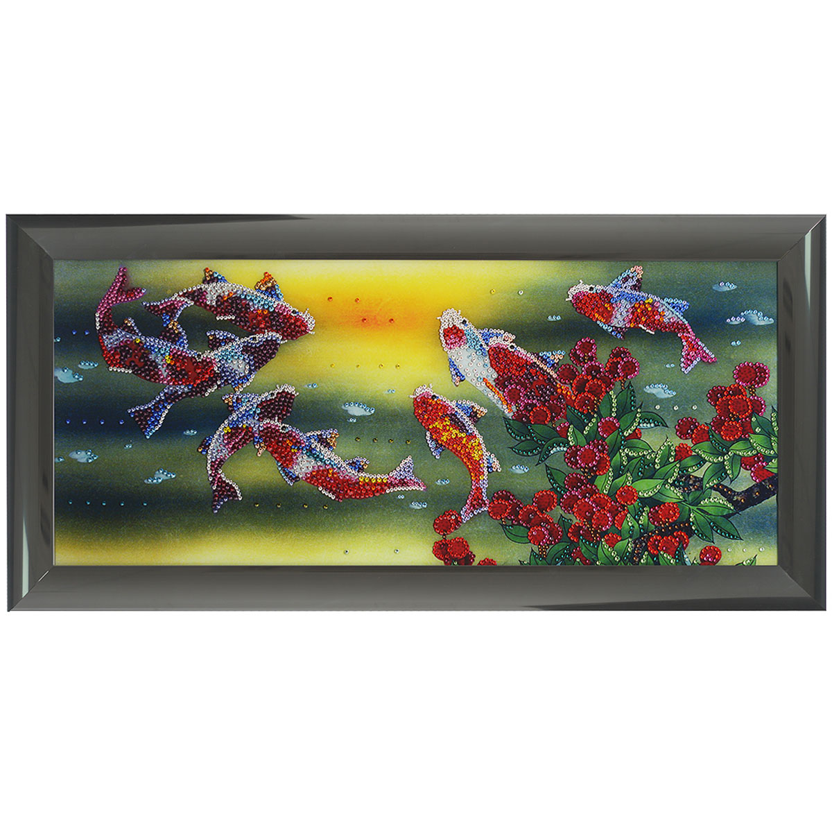 Картина с кристаллами Swarovski Рыбы Тай, 77,5 см х 37,5 см25051 7_желтыйИзящная картина в алюминиевой раме Рыбы Тай инкрустирована кристаллами Swarovski, которые отличаются четкой и ровной огранкой, ярким блеском и чистотой цвета. Идеально подобранная палитра кристаллов прекрасно дополняет картину. С задней стороны изделие оснащено специальной металлической петелькой для размещения на стене. Картина с кристаллами Swarovski элегантно украсит интерьер дома, а также станет прекрасным подарком, который обязательно понравится получателю. Блеск кристаллов в интерьере - что может быть сказочнее и удивительнее. Изделие упаковано в подарочную картонную коробку синего цвета и комплектуется сертификатом соответствия Swarovski. Размер картины: 77,5 см х 37,5 см.Количество кристаллов: 3906 шт.