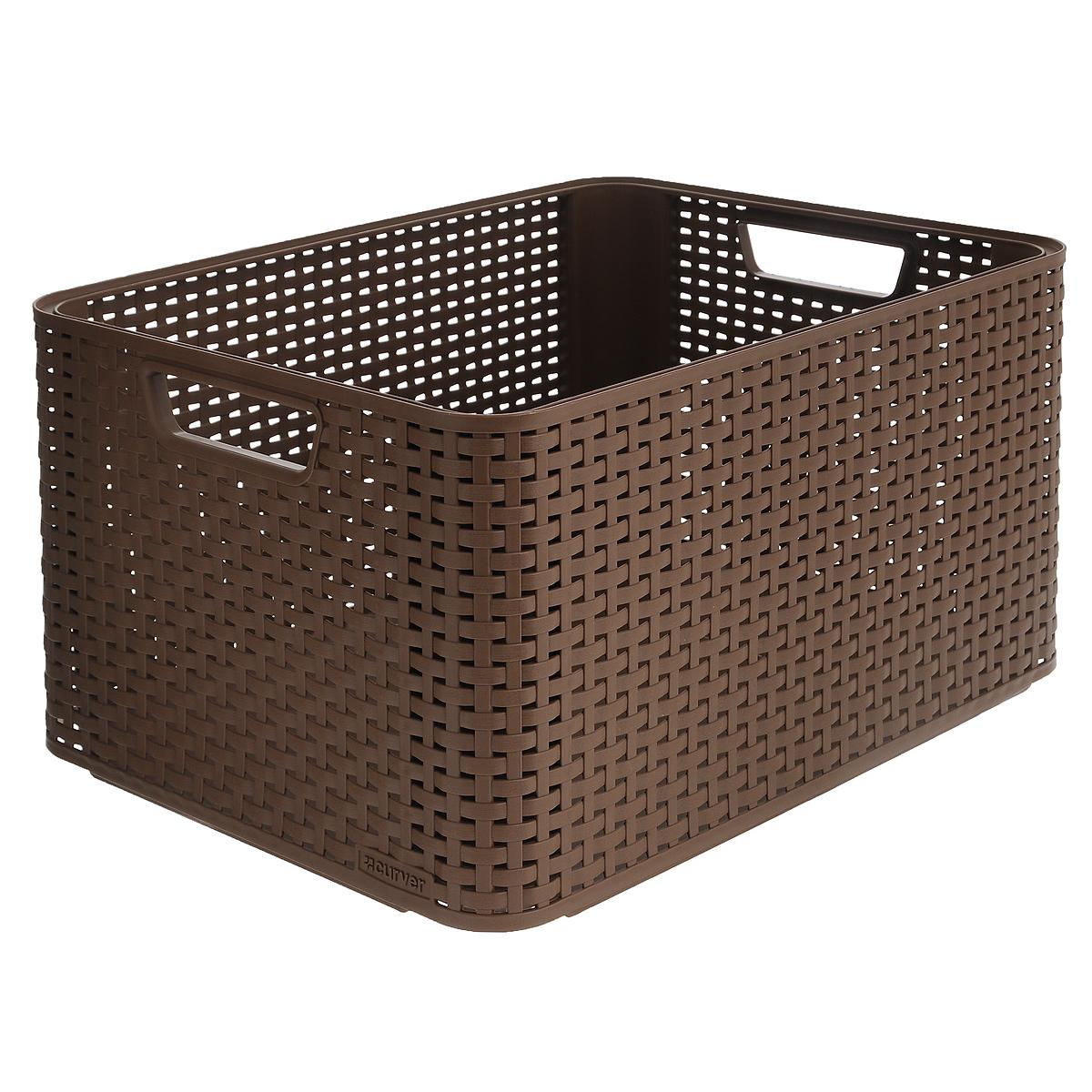 Корзинка универсальная Curver Style, цвет: коричневый, 44 х 33 х 23 смS03301004Универсальная корзинка Curver Style выполнена из высококачественного пластика и оформлена перфорацией в виде плетения. Она прекрасно подойдет для хранения различных бытовых вещей. Изделие оснащено удобными ручками по бокам.