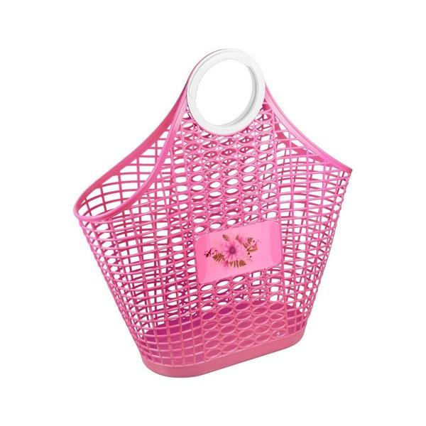 Корзина-сумка Альтернатива Хризантема, цвет: розовый, 42 x 14,5 x 45,5 смМ 2868Корзина-сумка Альтернатива Хризантема, изготовленная из высококачественного прочного пластика, предназначена для хранения мелочей в ванной, на кухне, даче или гараже. Изделие оснащено двумя эргономичными ручками для переноски.Это легкая корзина со сплошным дном и небольшими отверстиями в виде перфорации позволяет хранить мелкие вещи, исключая возможность их потери.