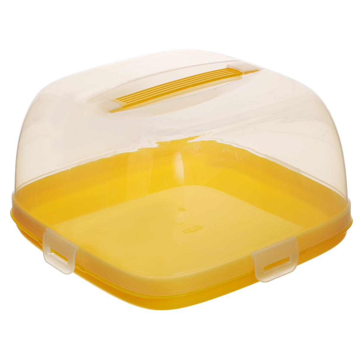 Тортница Idea, с защелками, цвет: прозрачный, желтый, 24 х 24 см115510Тортница Idea изготовлена из высококачественного прочного пищевого пластика. Она состоит из квадратного двухстороннего поддона и прозрачной крышки. Благодаря четырем защелкам крышка плотно сидит на подносе, что позволяет сохранить первоначальную свежесть торта и защитить его от посторонних запахов. Крышка тортницы имеет удобную ручку для переноски. Размер поддона: 24 см х 24 см. Высота борта: 2,5 см.Высота крышки: 12,5 см.Уважаемые клиенты! Обращаем ваше внимание на возможные изменения в дизайне упаковки. Качественные характеристики товара остаются неизменными. Поставка осуществляется в зависимости от наличия на складе.