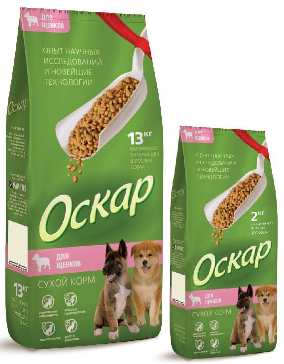 Корм сухой для щенков Оскар, 13 кг2123Сухой корм Оскар является вкусным и полезным питанием для щенков всех пород. Благодаря специально подобранным компонентам, корм Оскар:укрепляет и поддерживает иммунную систему;обеспечивает правильное пищеварение;способствует росту здоровой, густой и блестящей шерсти;укрепляет костную систему и суставы;помогает поддерживать оптимальный вес собаки;уменьшает образование зубного камня. Корм Оскар изготавливается из натуральных продуктов высшего качества, не содержит красителей и вкусовых добавок, сочетает в себе все необходимые для здоровья и нормального развития вашего любимца витамины и минеральные вещества. Состав: мясо, мясные субпродукты, злаки, рыба и рыбные субпродукты, мясокостная мука, животные и растительные белки, минеральные вещества, жиры и масла, овощи, витамины и микроэлементы.Анализ: протеин 27%, жир 10%, влажность 10%, зола 7%, клетчатка 5%, витамин А 5000 МЕ/кг, витамин Д 500 МЕ/кг, витамин Е 50 мг/кг, фосфор 1,1%, кальций 1,5%.Энергетическая ценность: 3700 ккал/кг. Вес:13 кг.Товар сертифицирован.