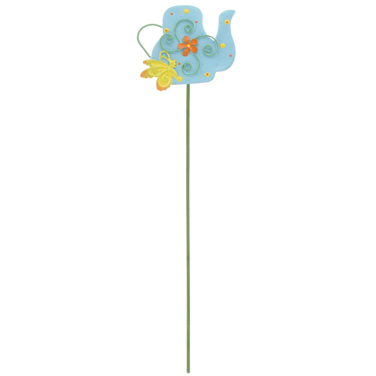 Украшение на ножке Village People Чайничек, цвет: голубой, высота 27 смZ-0307Украшение на ножке Village People Чайнички предназначено для декорирования садового участка, грядок, клумб, домашних цветов в горшках, а также для поддержки и правильного роста растений. Чайник в ярком дизайне и с объемным рисунком на металлической ножке, легко устанавливается в землю. Изделие украсит ваш сад и добавит ярких красок. Размер декоративного элемента: 7 см х 6,2 см. Длина ножки: 27 см.