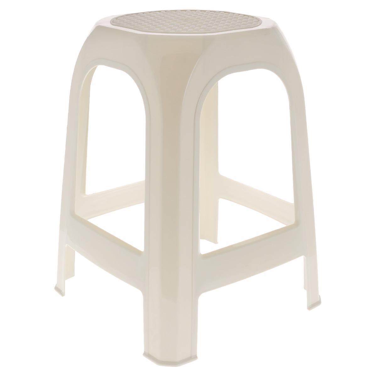 Табурет Idea, цвет: бежевый, высота 46 смМ 2290 розТабурет Idea выполнен из прочного высококачественного пластика. Надежная опора ножек предотвращает опрокидывание табурета. Сиденье изделия оформлено рельефным рисунком под плетение. Такой табурет обязательно пригодятся и дома, чтобы разместить гостей за кухонным столом, и на даче, чтобы организовать место для отдыха или обеда на свежем воздухе.