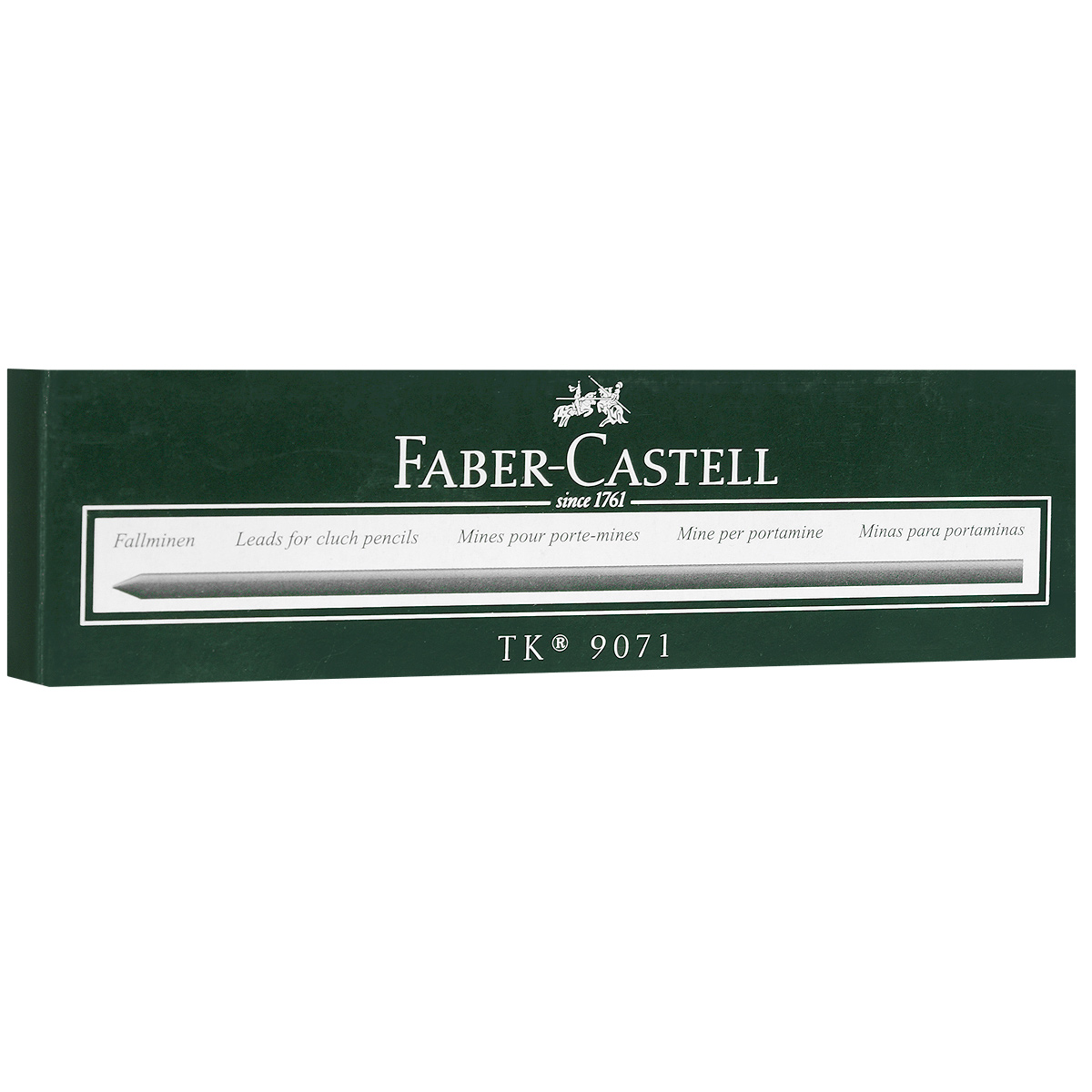 Графитные грифели Faber-Castell, 10 шт72523WDГрафитные грифели Faber-Castell подходят механических карандашей любой марки. Они оставляют на бумаге четкий черный след, не размазываются, обладают ударопрочностью и экономно расходуются. В наборе 10 заточенных грифелей, упакованных в пластиковый футляр для удобного хранения.
