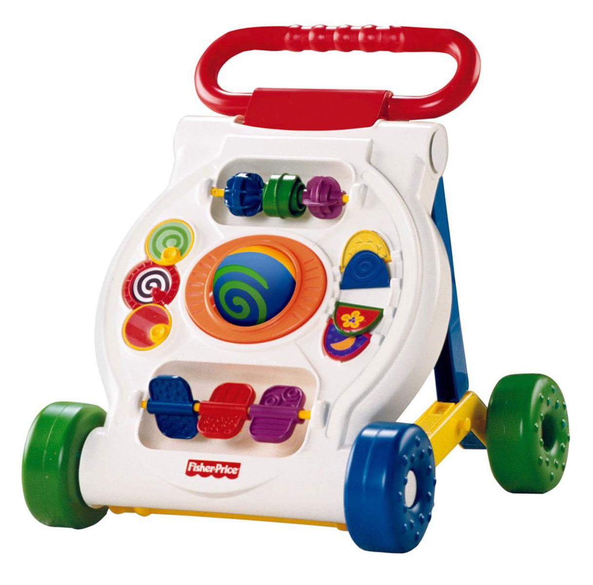 """Яркие ходунки Fisher-Price """"Infant"""" приведут в восторг вашего ребенка и надолго займут его внимание. Они помогут малышу быстрее научиться ходить и не позволят ему скучать во время отдыха, ведь они оснащены различными увлекательными элементами для маленького непоседы. Ходунки представляют собой многофункциональный мобильный игровой центр, который поможет малышу сделать первые шаги и свободно передвигаться по дому. Ходунки снабжены четырьмя пластиковыми колесиками и удобной ручкой. Ребенок сможет катить их и, держась за ручку, толкать их перед собой. А когда малыш устанет, он сможет сесть и поиграть. В центре игровой панели расположен вращающийся двухцветный шар. Сверху на ось нанизаны три рельефных колесика, которые малыш с удовольствием будет вращать или передвигать из стороны в сторону. В нижней части расположены вращающиеся вертушки. По бокам находятся крутящиеся диски и переворачивающиеся створки с изображениями животных. Ходунки """"Infant"""" помогут вашему ребенку..."""