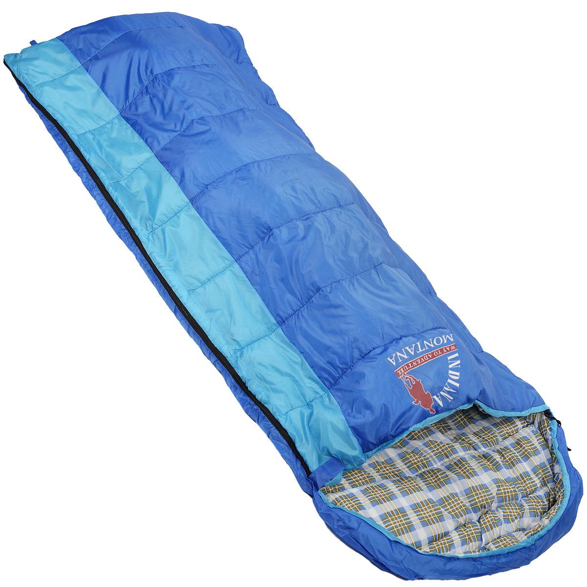 Спальный мешок-одеяло Indiana Montana L-zip от -4 C, цвет: синий, голубой, левосторонняя молния, 180+35 см х 90 смKOC2028LEDДанная модель предусмотрена для холодного времени года, так как рассчитана на температуру до -4° C. Увеличенные размеры, возможность состегивания двух спальных мешков с правой и левой молнией, делают спальный мешок MONTANA оптимальным выбором для отдых а на природе, туризма и кемпинга в том числе и в холодное время года. Слой синтетического утеплителя контролирует терморегуляцию внутри спального мешка, поддерживая в нем необходимую температуру независимо от значения температуры окружающего воздуха. Коконообразная анатомическая форма обеспечивает плотное прилегание спального мешка, в то же время внутри него предусмотрено достаточно свободного места для комфортного сна. В сложенном виде мешок занимает очень мало места и весит совсем не много.Тип спального мешка: одеяло с капюшоном.Внешний материал: полиэстер. Внутренний материал: полиэстер.