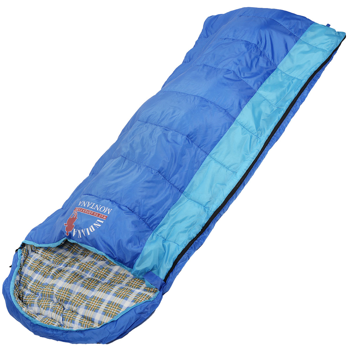 Спальный мешок-одеяло Indiana Montana R-zip от -4 C, цвет: синий, голубой, правосторонняя молния, 180+35 см х 90 см67742Комфортный спальный мешок с подголовником. Благодаря увеличенным размерам и возможности соединения двух спальных мешков с правой и левой молнией, спальный мешок Indiana Montana является оптимальным выбором для отдыха на природе, туризма и кемпинга, в том числе и в прохладное время года.