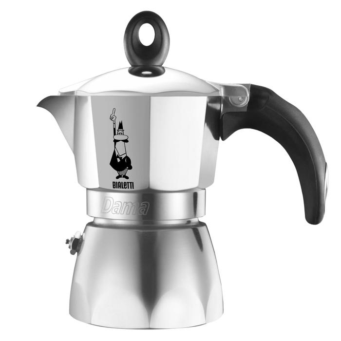 Кофеварка гейзерная Bialetti Dama, на 3 порции, 120 мл115510Гейзерная кофеварка Bialetti Dama с современным ярким дизайном создана для тех, кто любит творческие кофе-брейки с интригующим и манящим ароматом. Изделие выполнено из алюминия, снабжено удобной ненагревающейся ручкой с прорезиненным покрытием. В гейзерной кофеварке кофе готовится за счет давления пара. Изделие имеет две емкости: верхнюю - для готового кофе, и нижнюю - для воды. На нижнюю емкость установлен фильтр в форме воронки. При нагревании часть воды в нижней емкости превращается в пар. Со временем его давление растет, и постепенно пар начинает выдавливать кипящую воду вверх. Вода проталкивается через молотый кофе, и полученный напиток выплескивается в верхнюю емкость. Когда вся жидкость из нижней емкости переместится в верхнюю, кофе готов. По принципу действия кофеварка напоминает гейзер, от чего и получила свое название. Предназначена для приготовления кофе на электрических и газовых плитах, а также других нагревающих поверхностях, кроме индукционных плит. Не рекомендуется мыть в посудомоечной машине. Высота: 18 см.Глубина: 11 см.Ширина: 14,5 см.